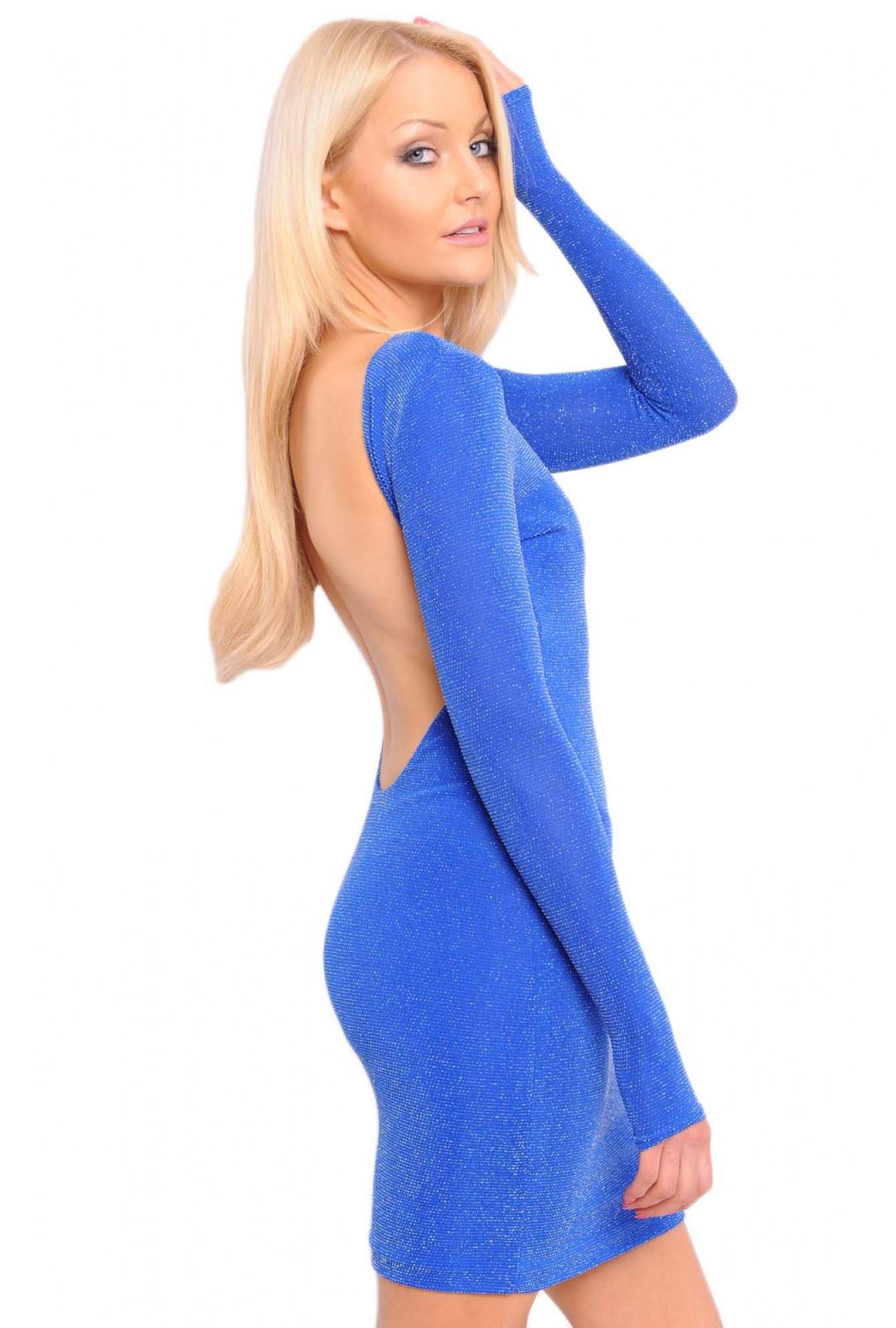 cb645fde51d More Views. Zara U Back Bodycon Dress in Blue