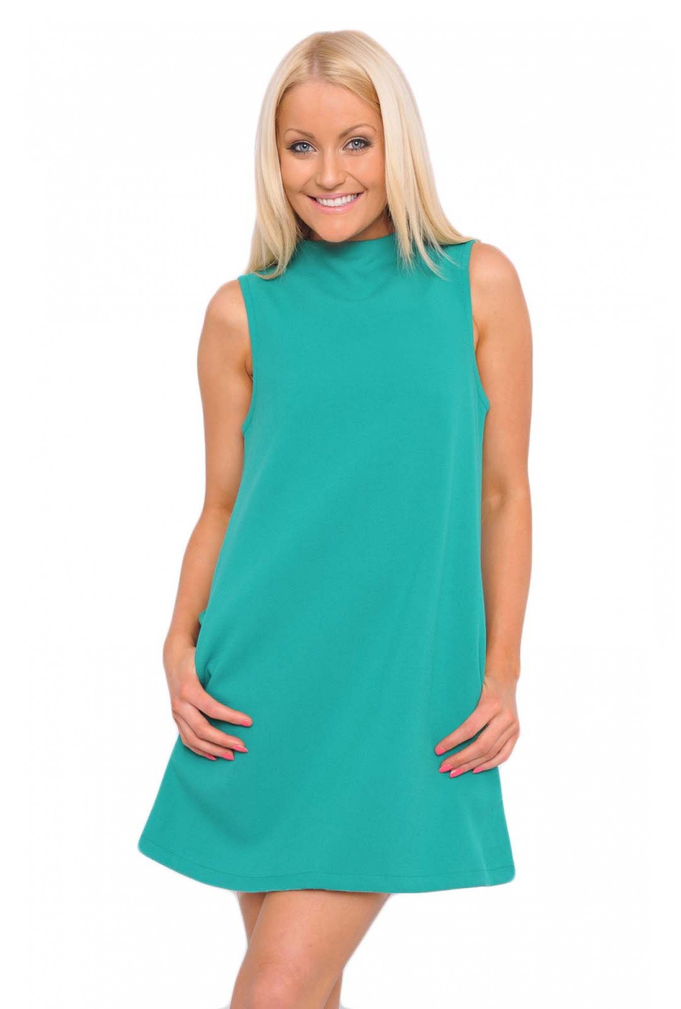 875c43ff8249 AX Paris Ruby High Neck Shift Dress in Green | iCLOTHING