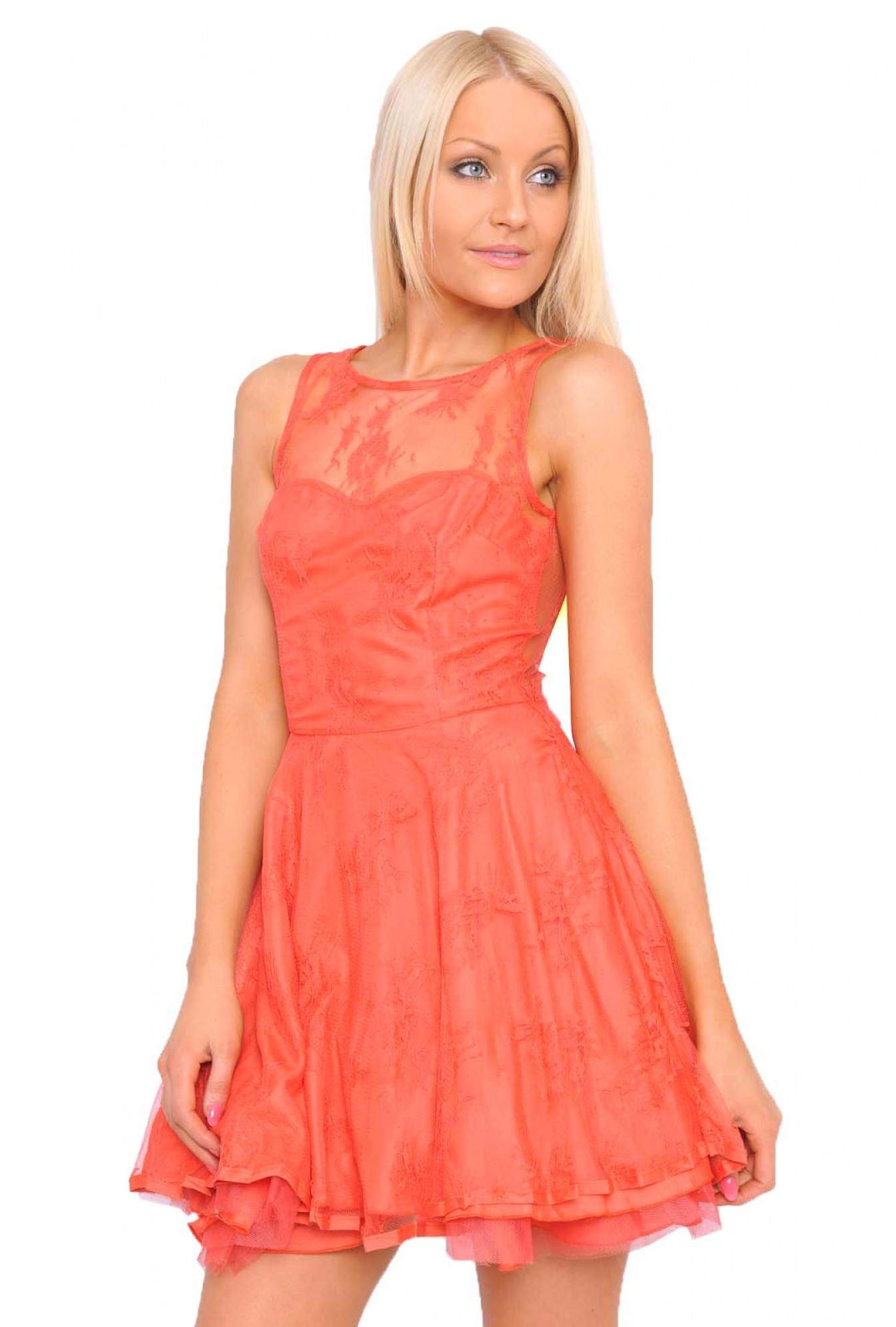 8a2c5d9be2aa More Views. Sade Lace Kick Out Skater Dress in Coral. AX Paris