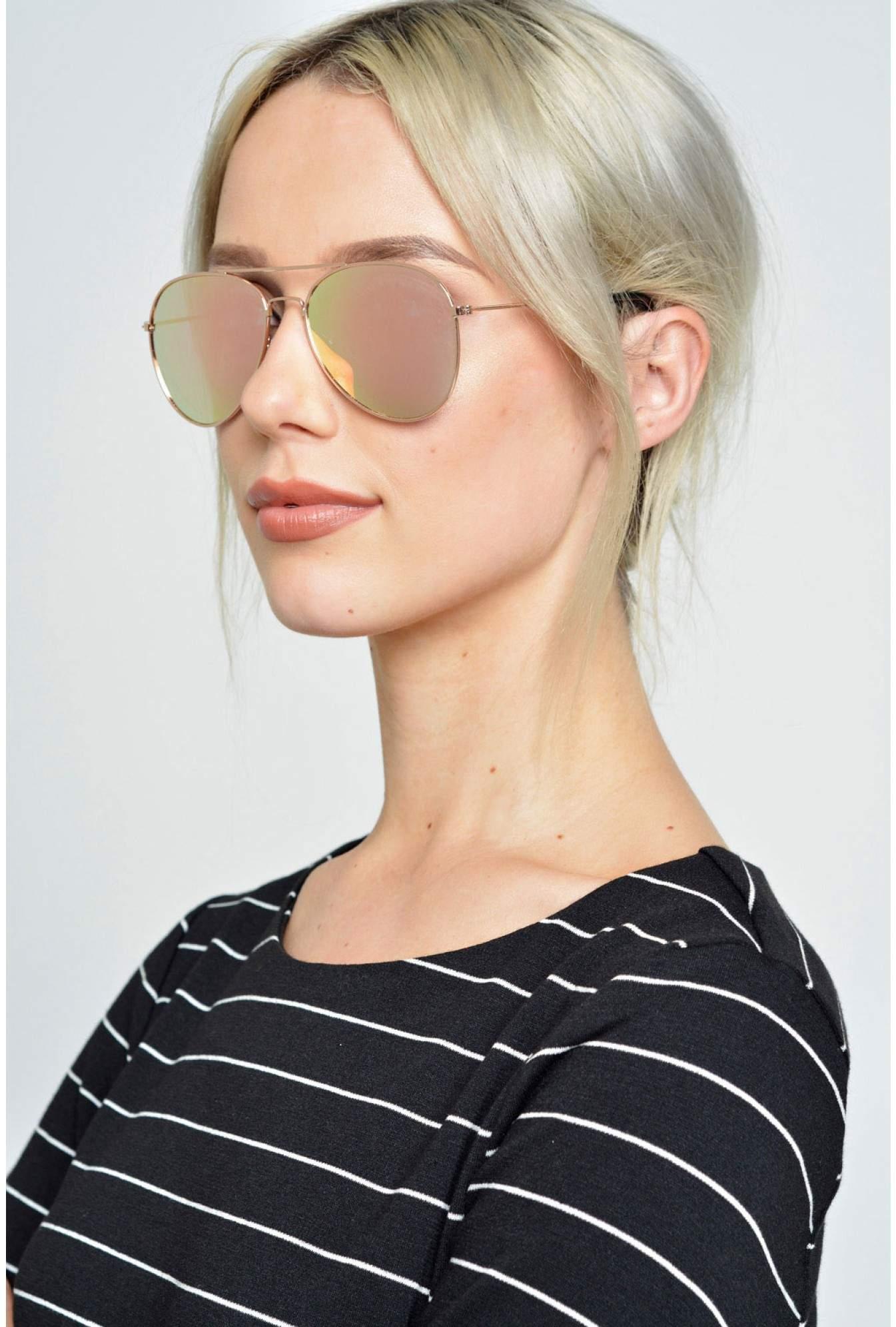 b81a042b9 More Views. Pilot Rose Gold Aviator Sunglasses in Rose Mirrored Lens