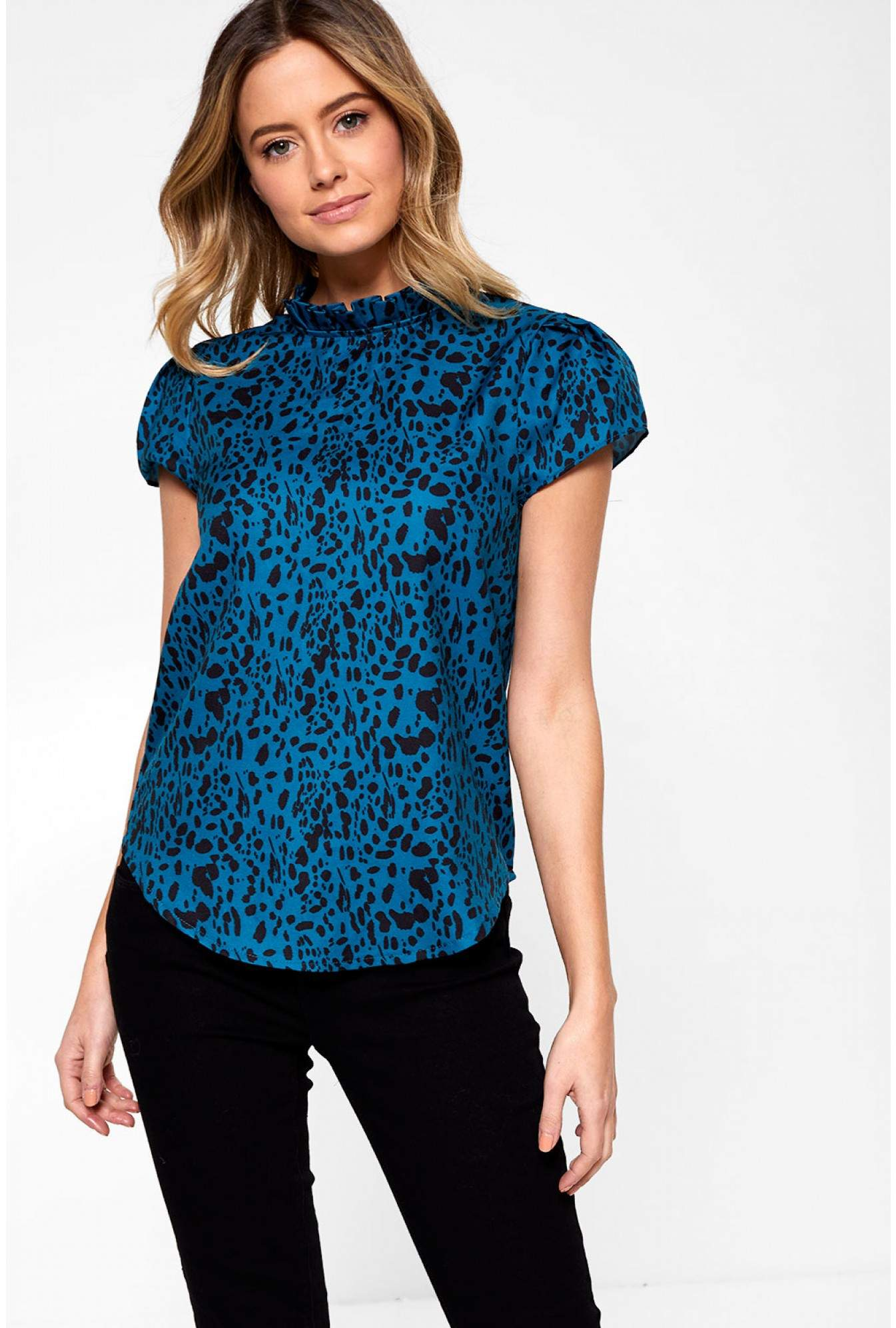 16ccdb26e26589 Marc Angelo Millie Top with Frill Neck in Teal Animal Print | iCLOTHING