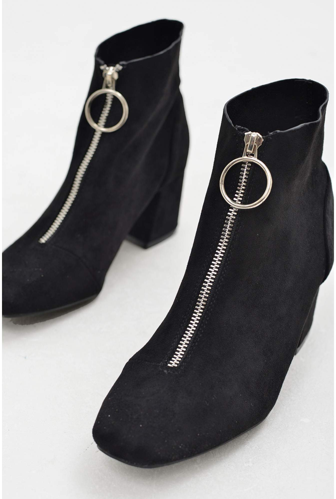 0e814dd93 No Doubt Sam Ankle Boots with Zip Front in Black | iCLOTHING