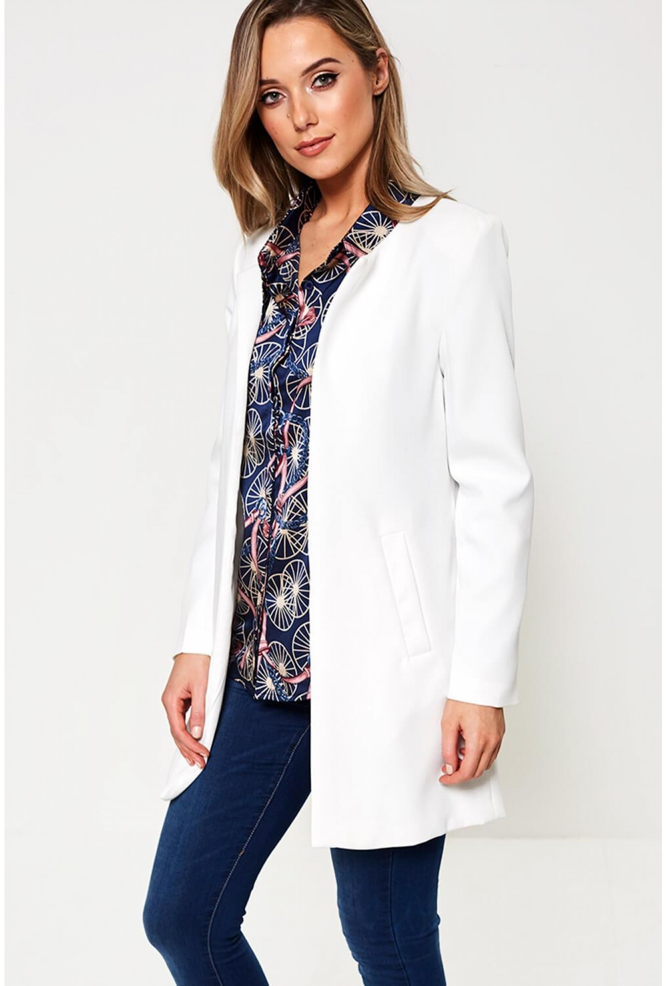 b1e7216d5cde Marc Angelo Aria Longline Blazer in Off White | iCLOTHING