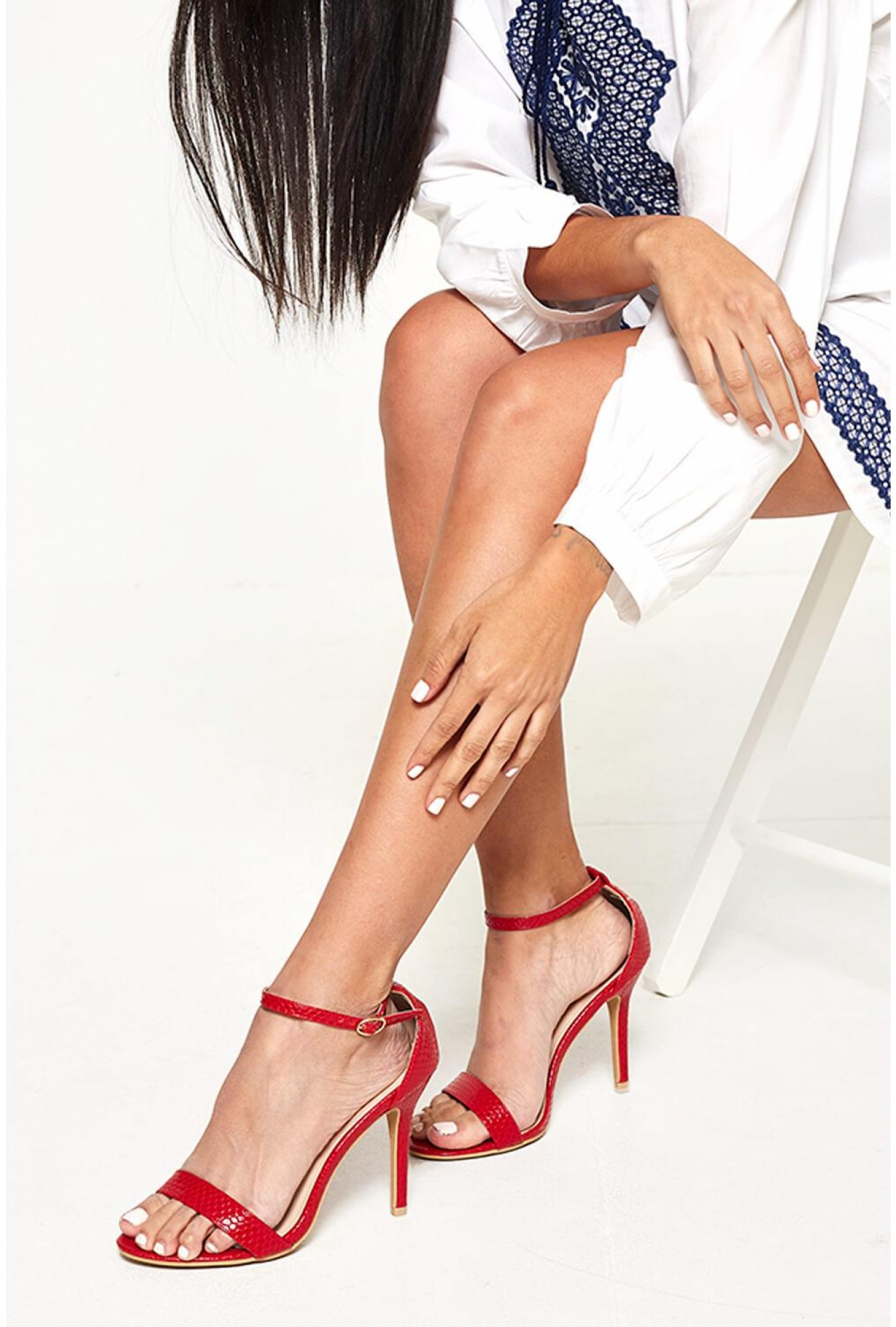 d5013811a29 Acantha Barely There Heeled Sandals in Red Snake