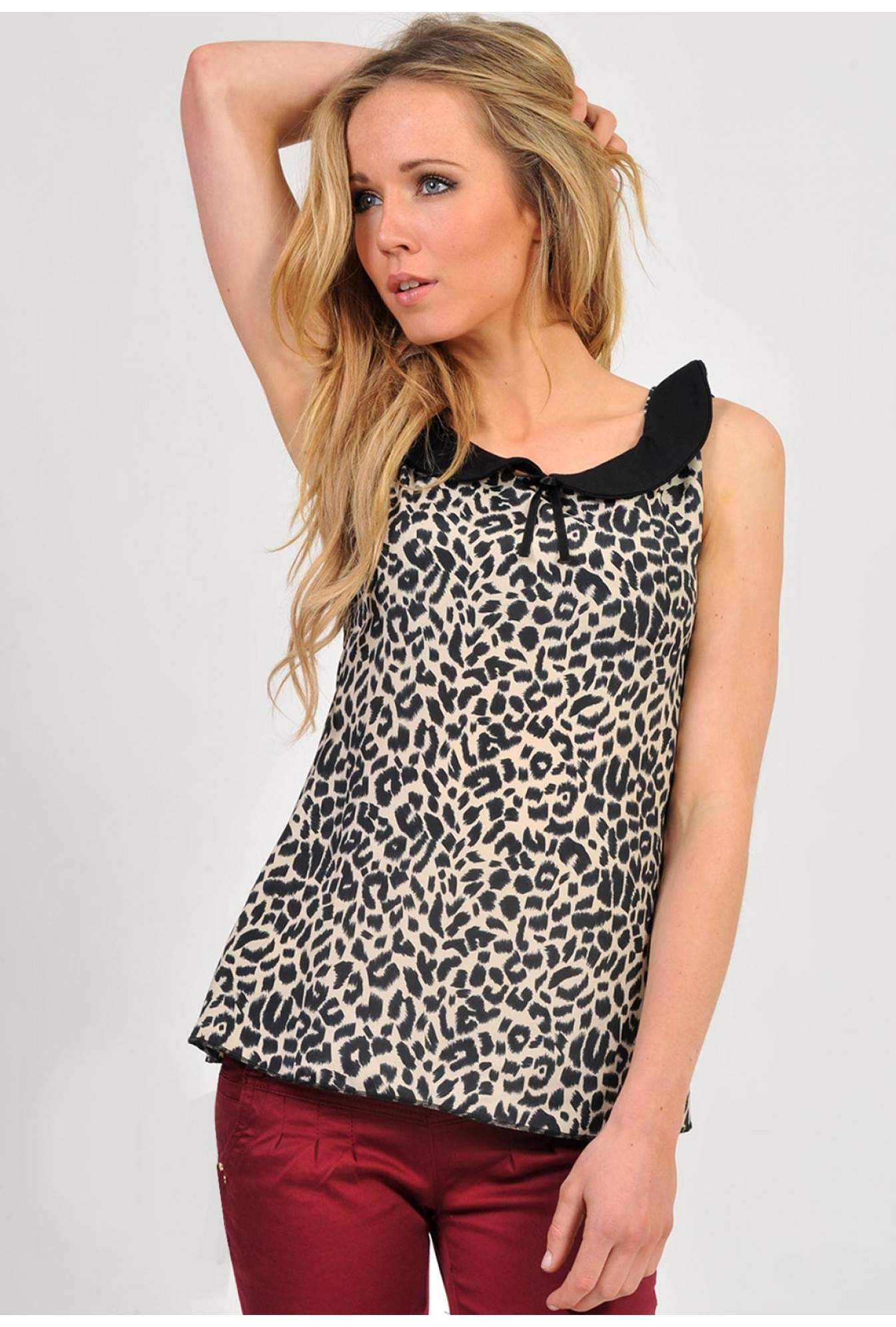 94c212351ad2bb More Views. Betty Peter Pan Leopard Top