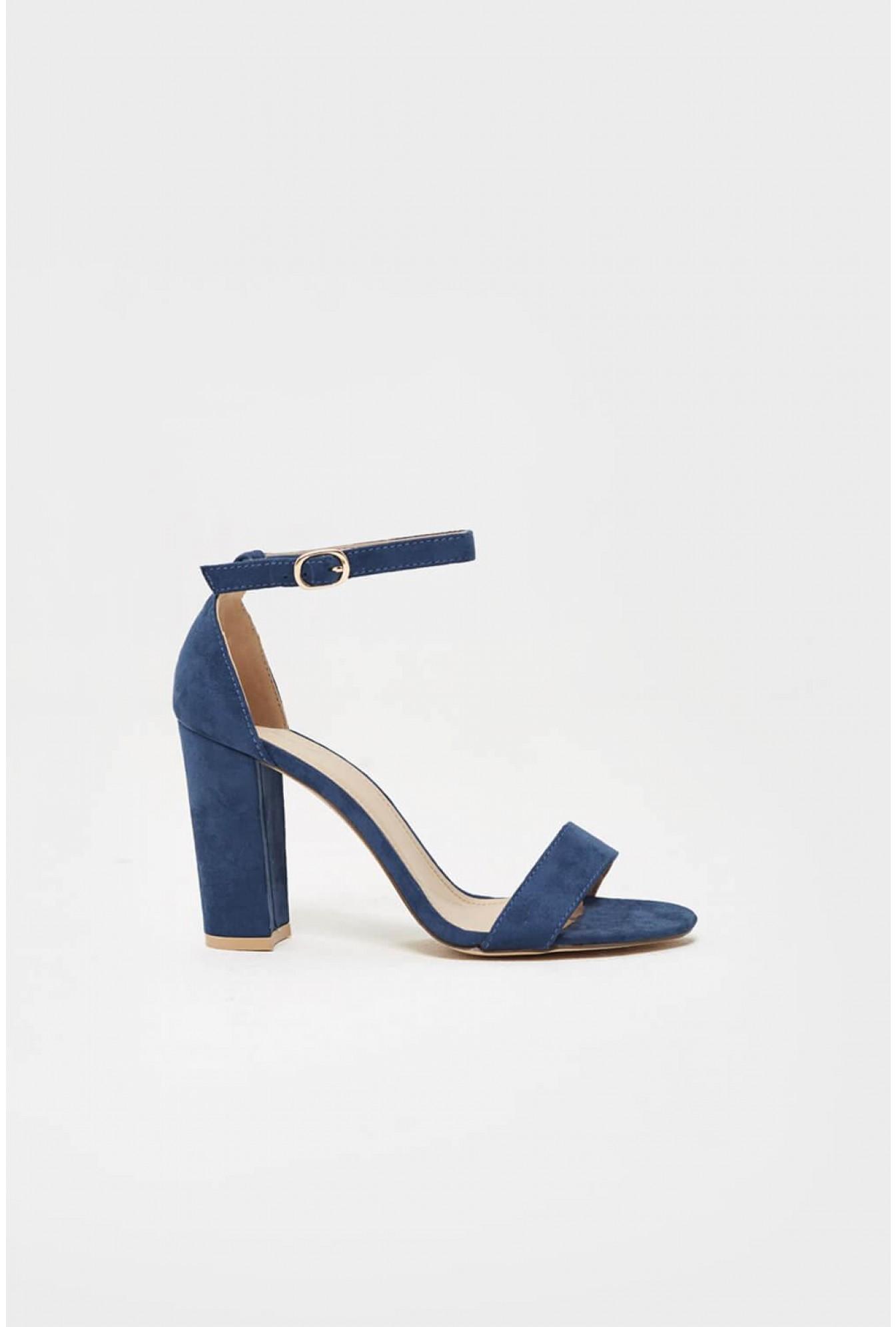 97cbc7d9cffe3 Efashion Paris Troy Block Heel Sandal in Navy Blue   iCLOTHING