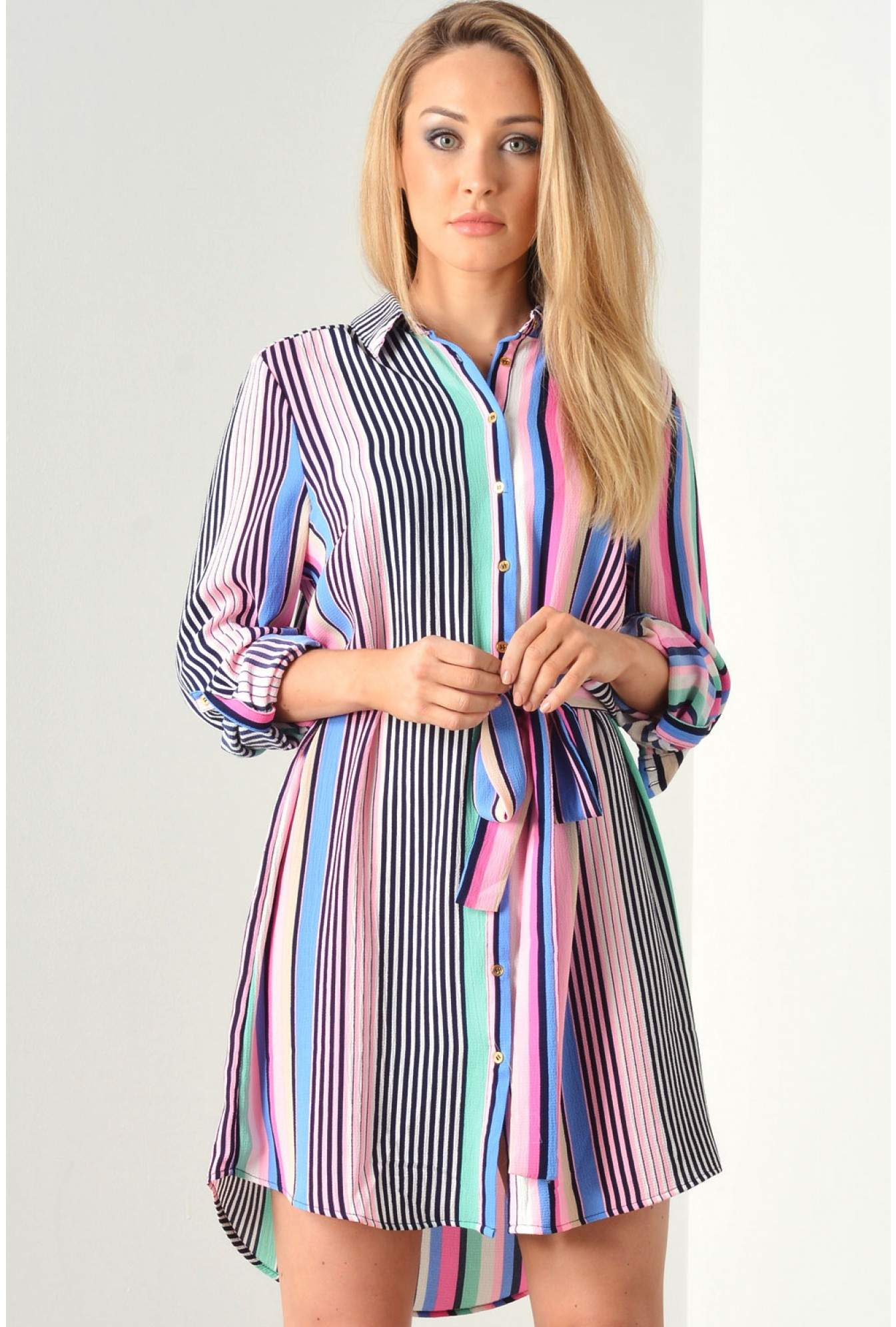 9139adbec252a Kiah Juniper Striped Shirt Dress in Pink | iCLOTHING