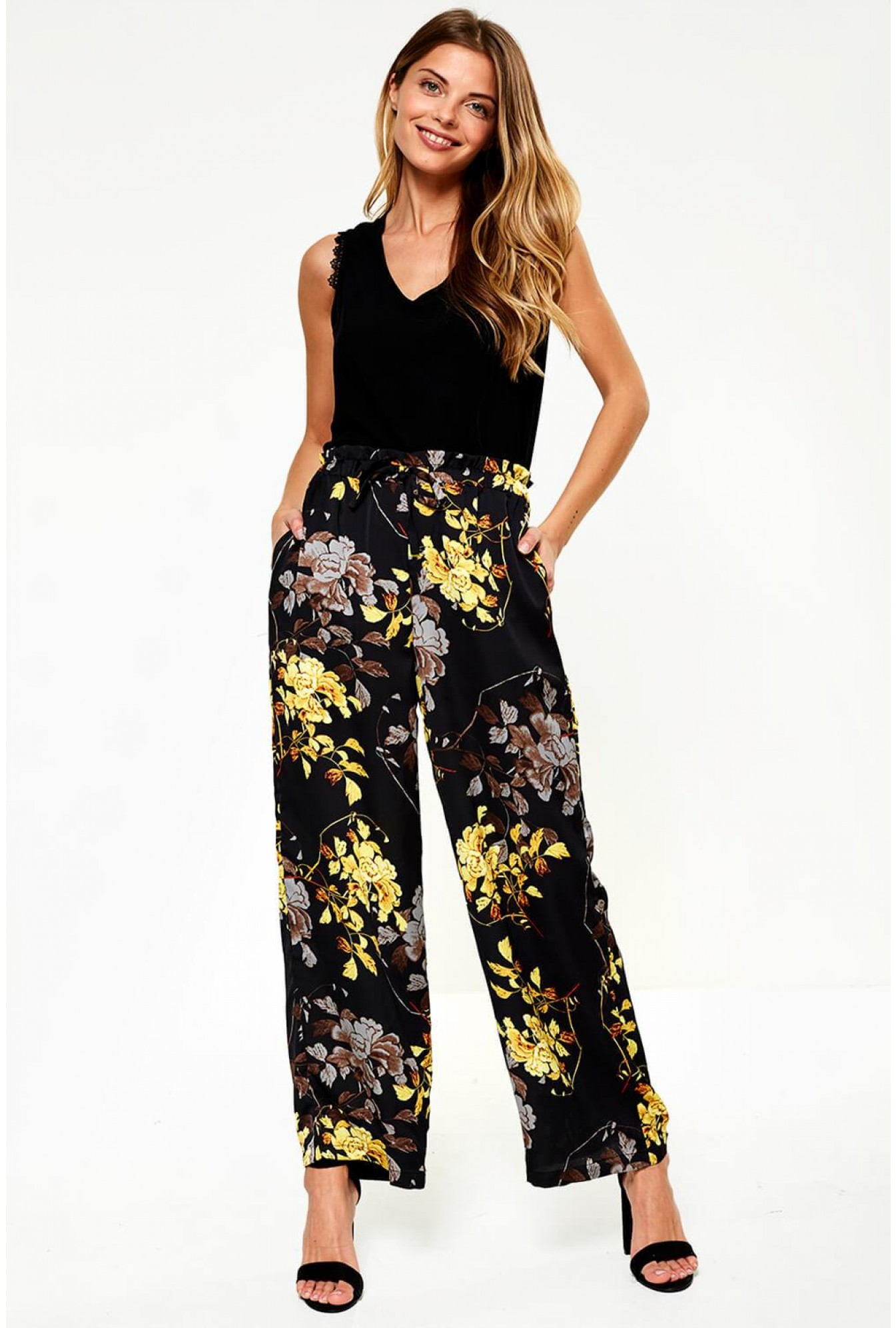 7a447207fa68 Vila Eliana Wide Leg Trousers in Black Floral Print | iCLOTHING