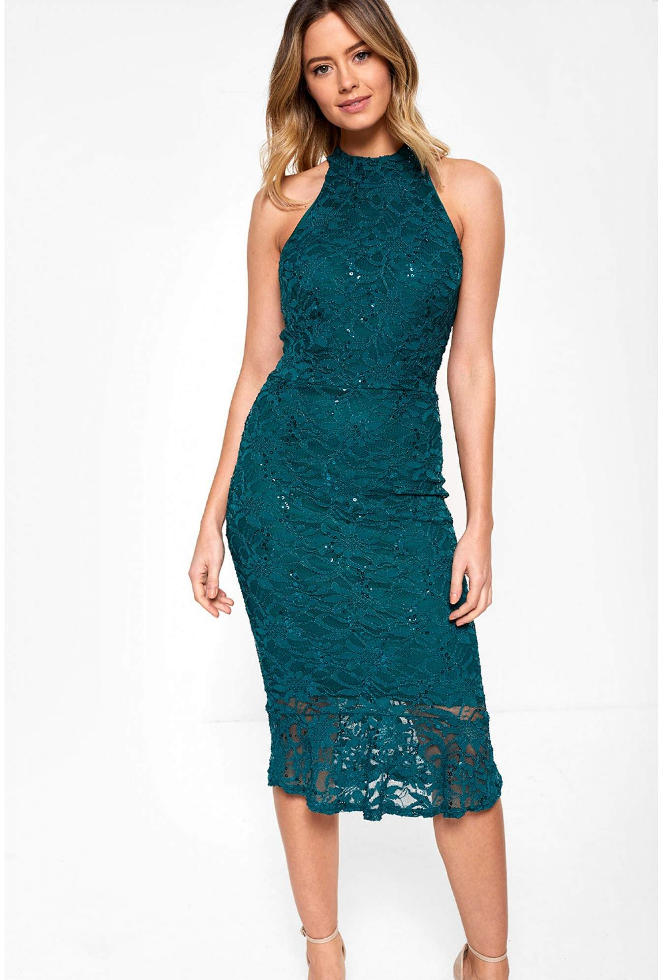 735dc285e5e Nikka Vicki Bodycon Dress With Sequin Detail in Green