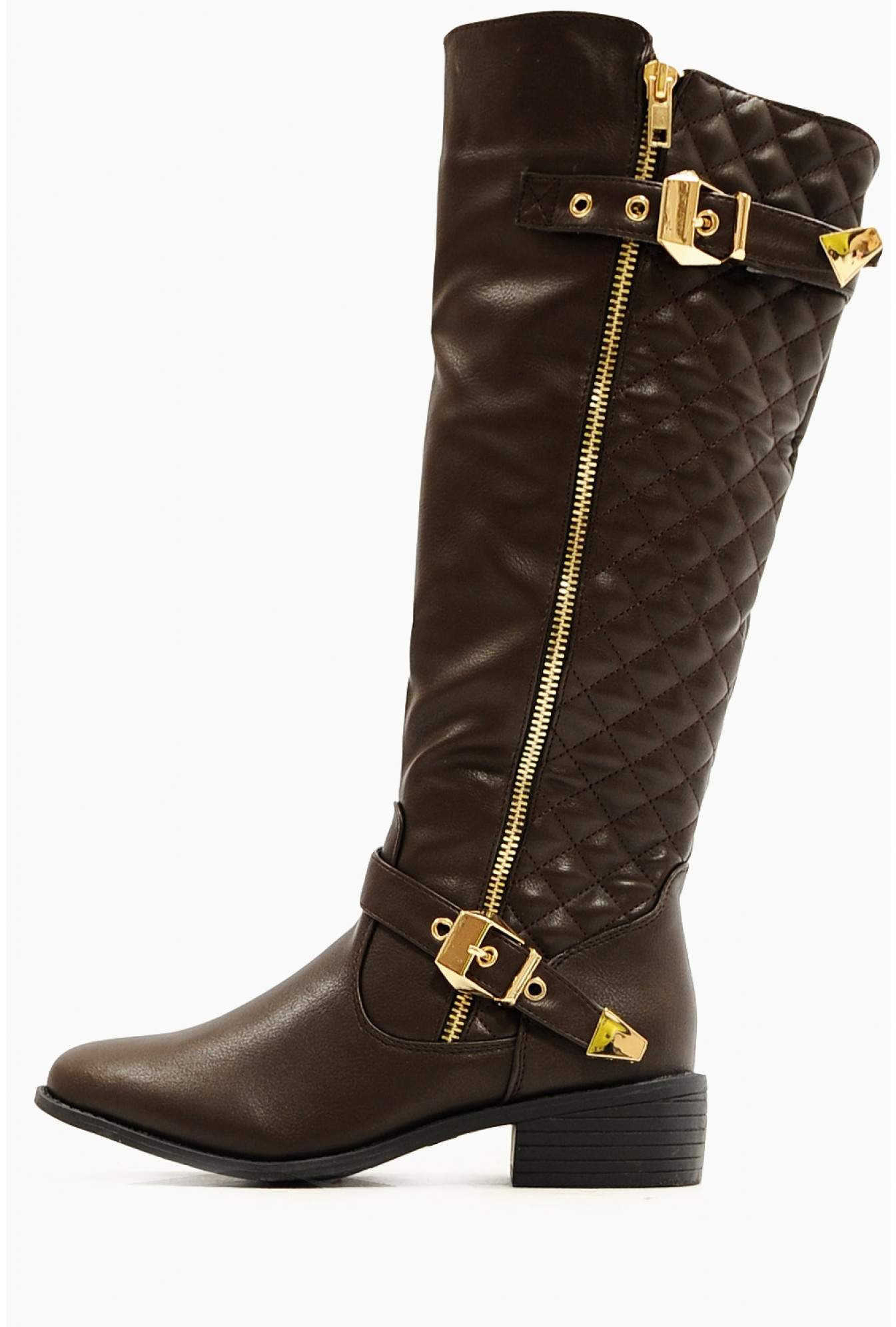 e5392ad73829 Sole City Maria Quilted Knee High Boots in Brown | iCLOTHING