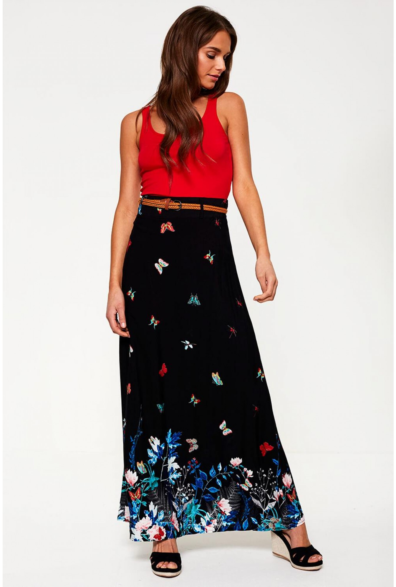 0998646bbc Stella Ilise Butterfly Print Maxi Skirt in Black | iCLOTHING