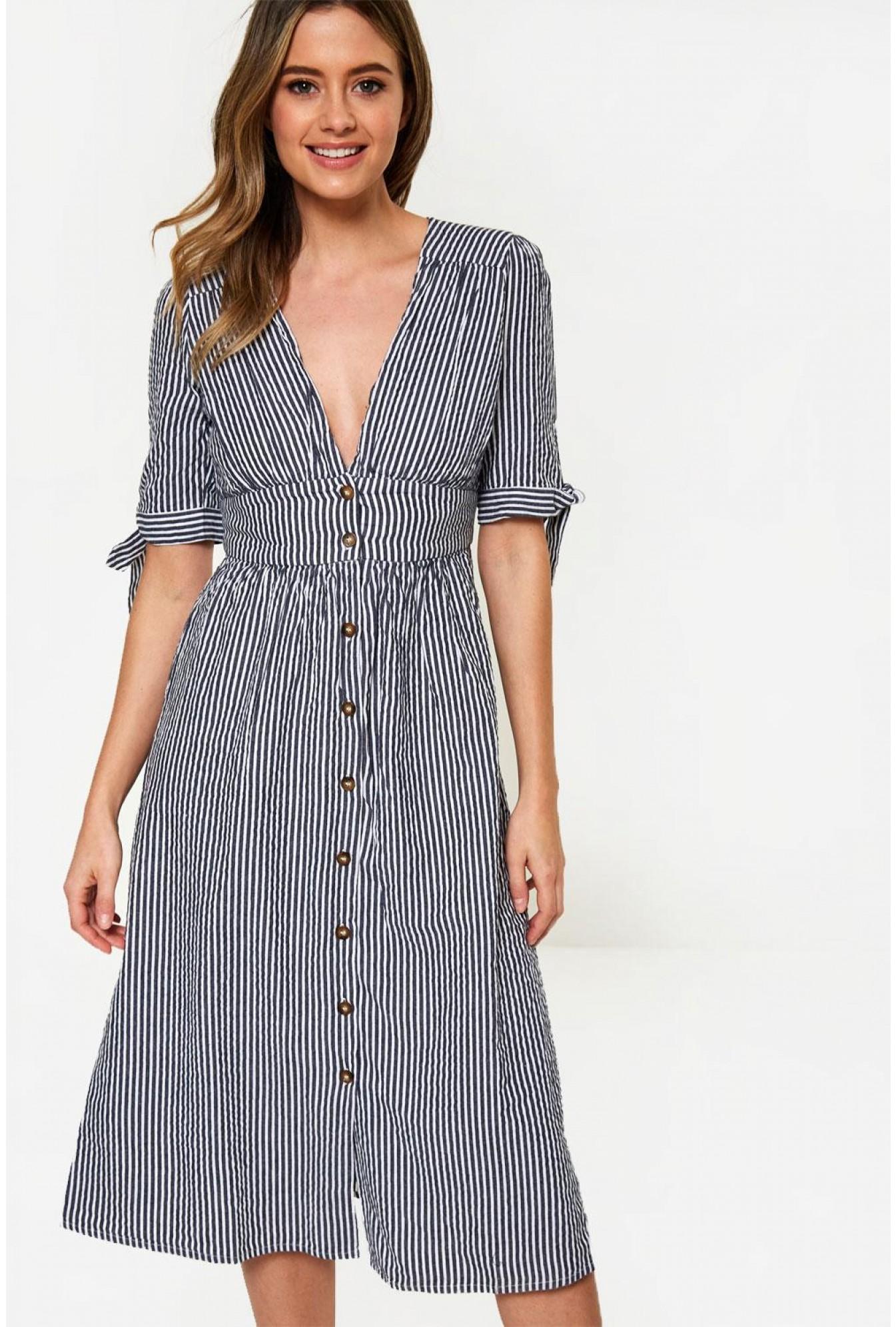 98a1cfa312e Vero Moda Button Up Stripe Midi Dress in Navy | iCLOTHING