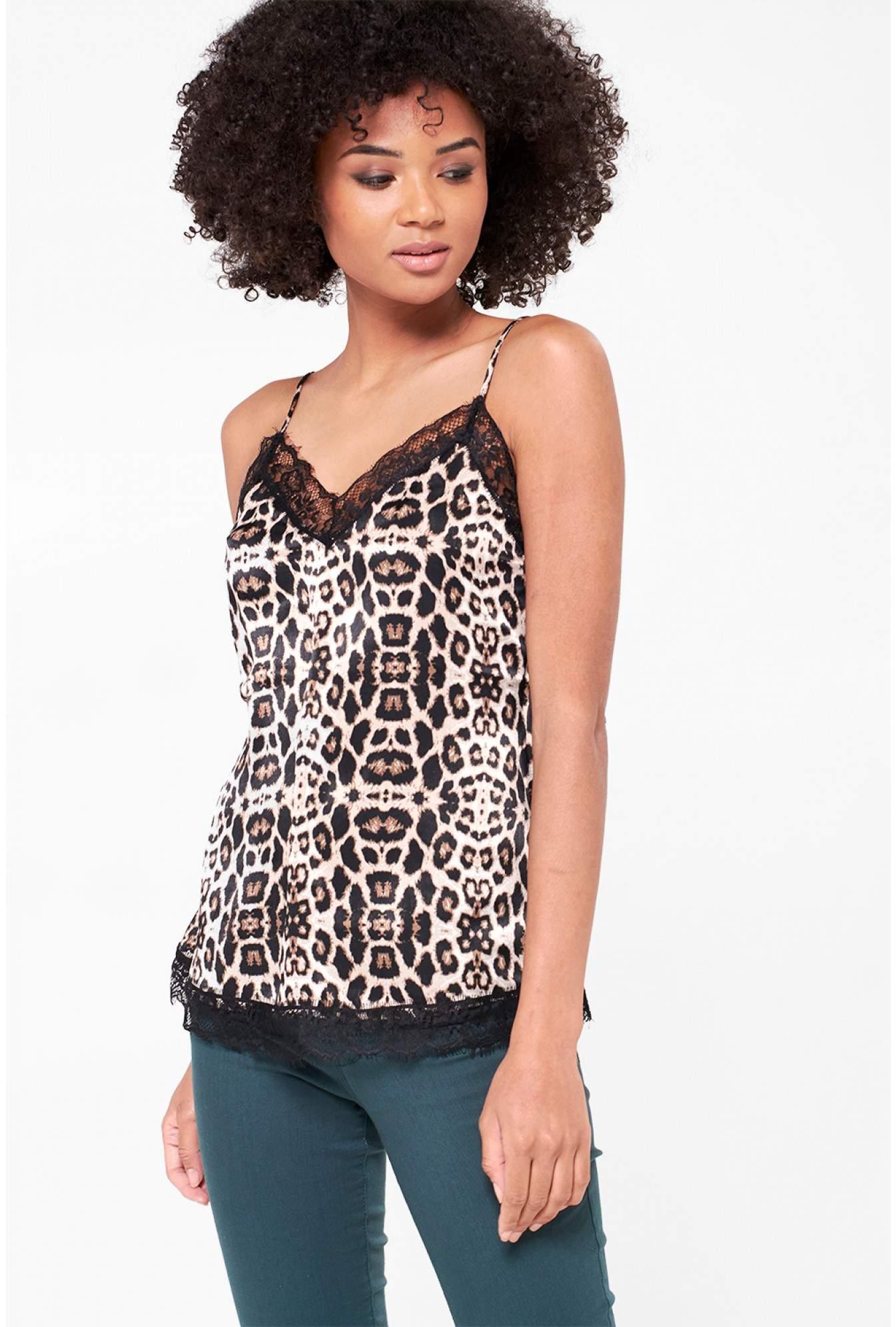 7e3e31421 Jacqueline De Yong Fun Cami with Lace Detail in Leopard Print ...