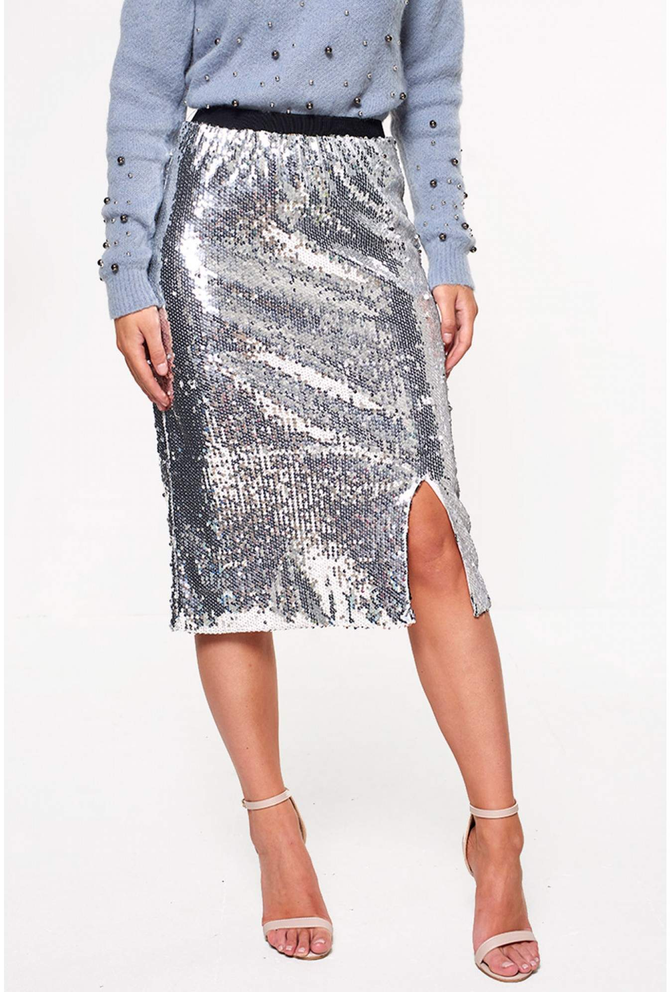 56964a8714 YAS Centa High Waist Sequin Skirt in Silver | iCLOTHING
