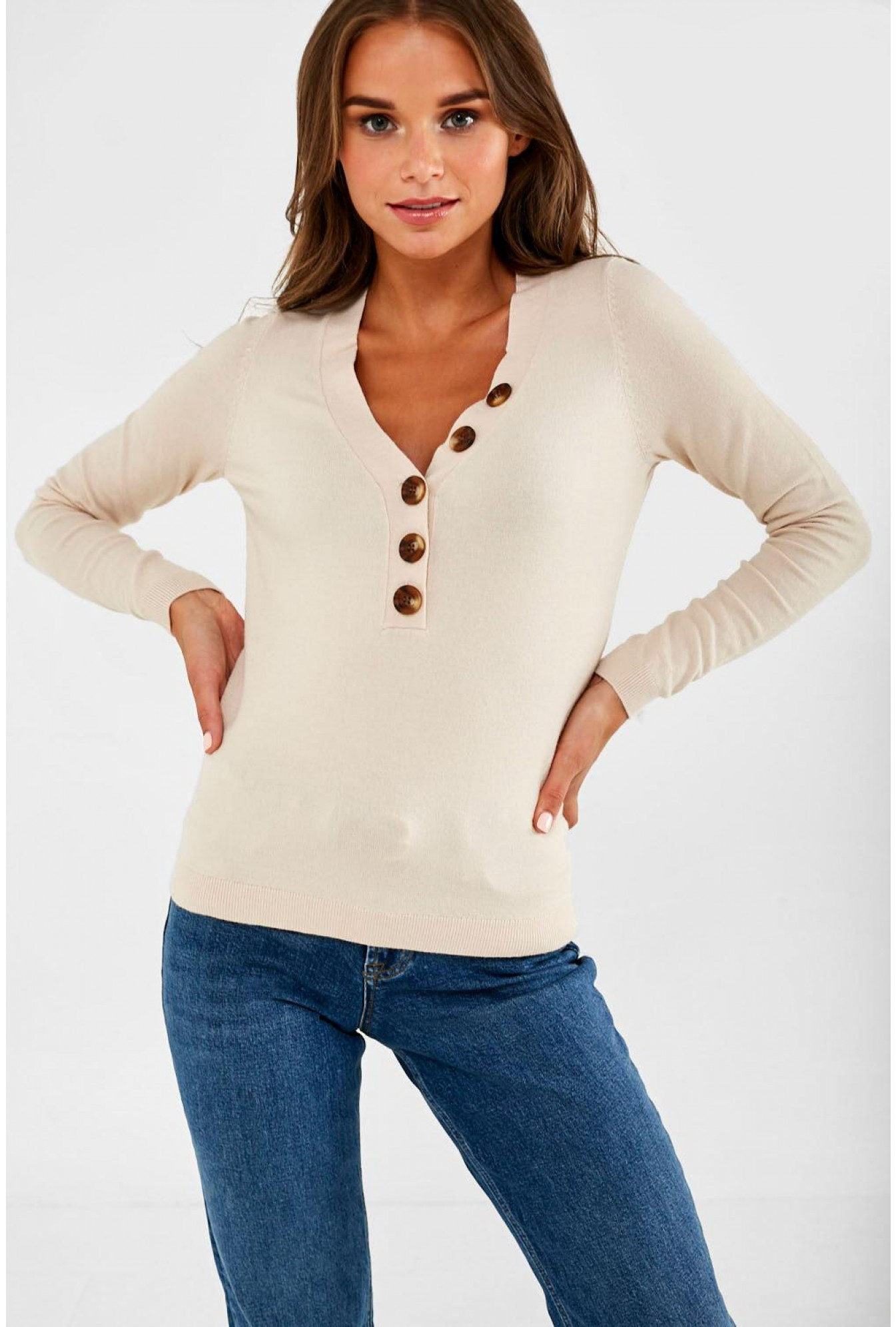 finest selection 2a42f 46c7b Chip Pullover with Button Detail in Beige