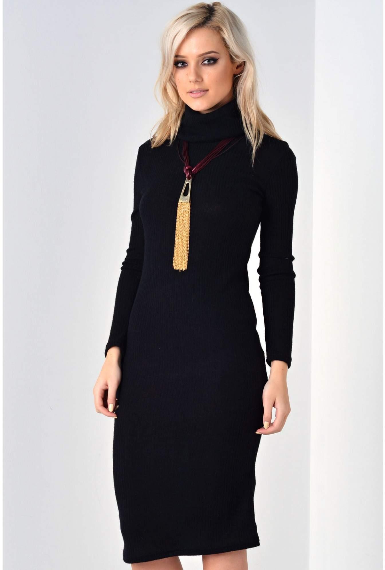 d227e7572f15 Glamorous Aspen Polo Neck Knit Dress in Black   iCLOTHING