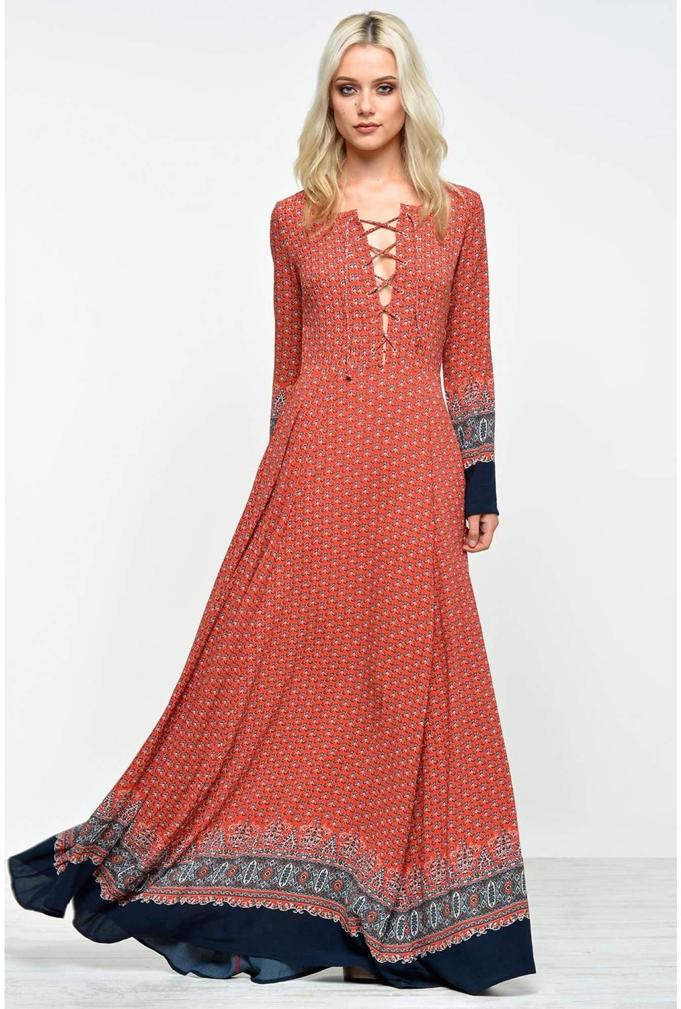 b14aa842f1 More Views. Kate Border Print Lace Up Maxi Dress. Glamorous
