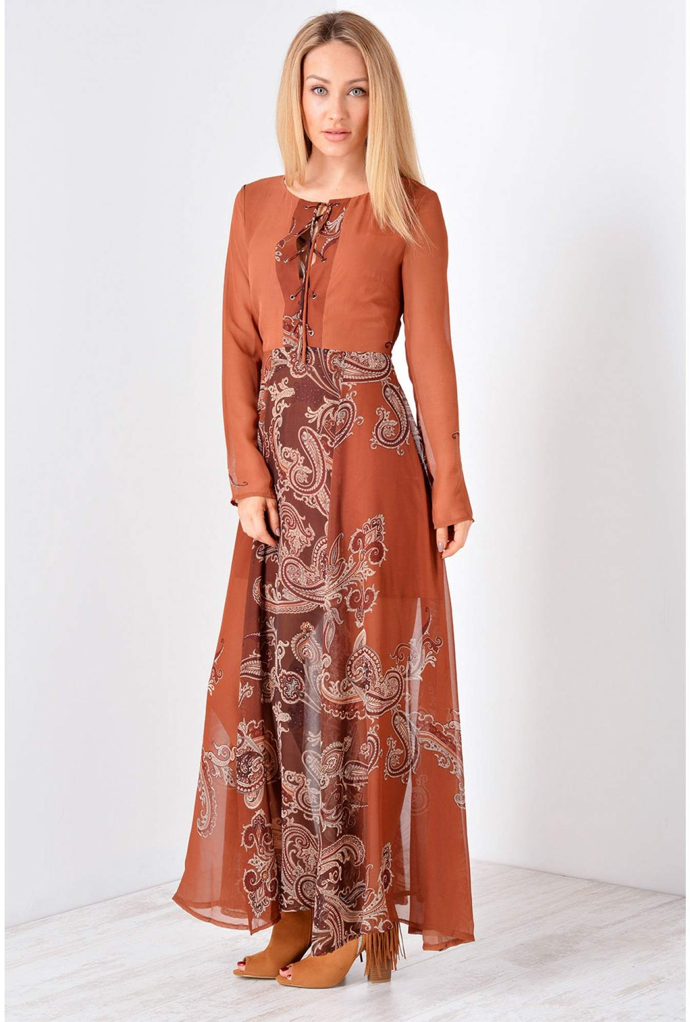 80b2e478a1 More Views. Brigid Paisley Print Maxi Dress in Rust