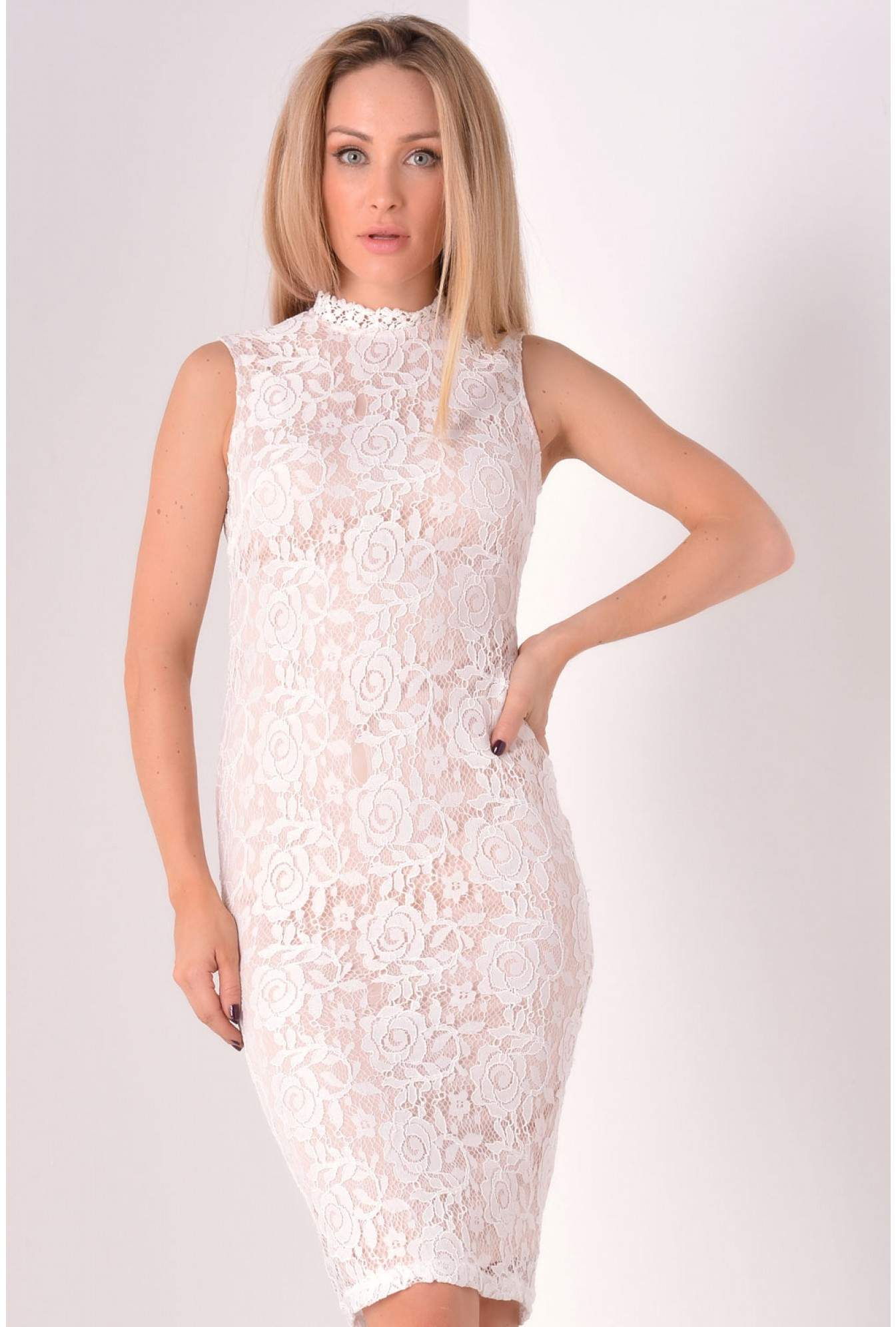 18ba151f222 More Views. Jordan Lace High Neck Midi Dress in White