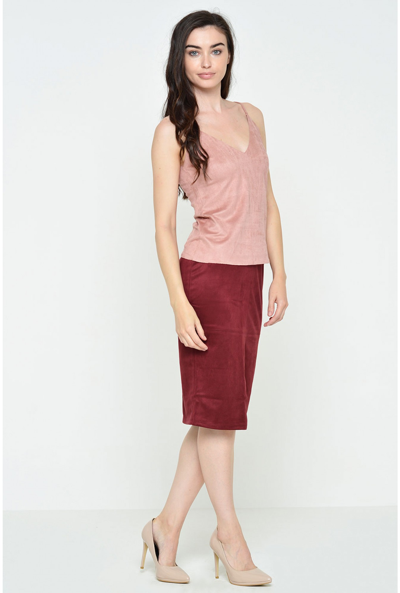 e26e511005 More Views. Tootie Suedette Cami Top in Dusty Pink. Glamorous