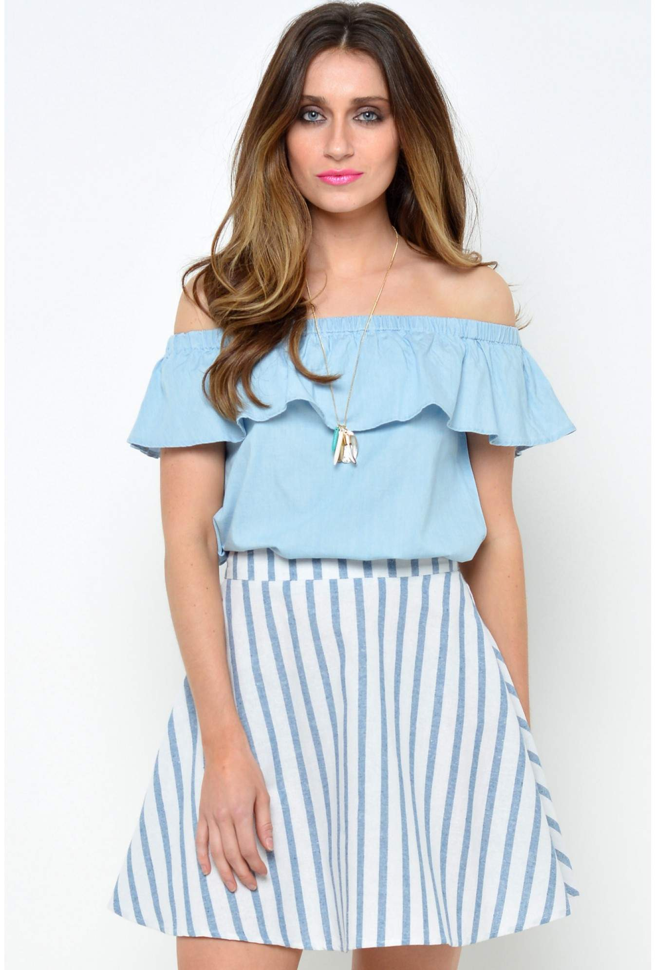 53579ca08ad9 Glamorous Paula Off The Shoulder Frill Top in Blue