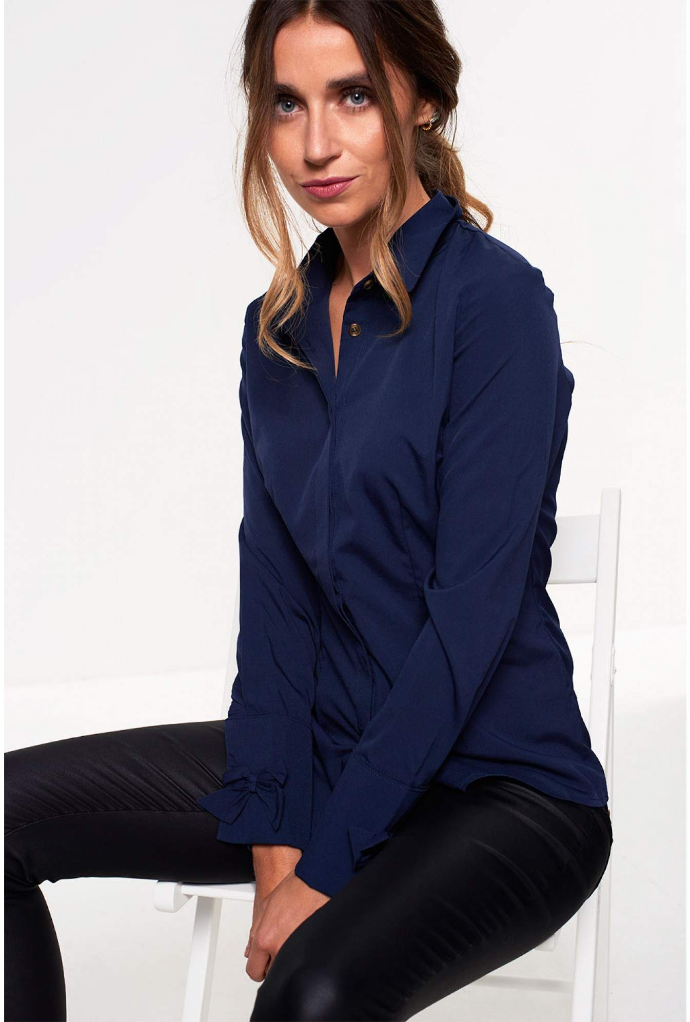 2df2f6fb472f0 Saint Maine Claire Long Sleeve Shirt with Bow Detail in Navy