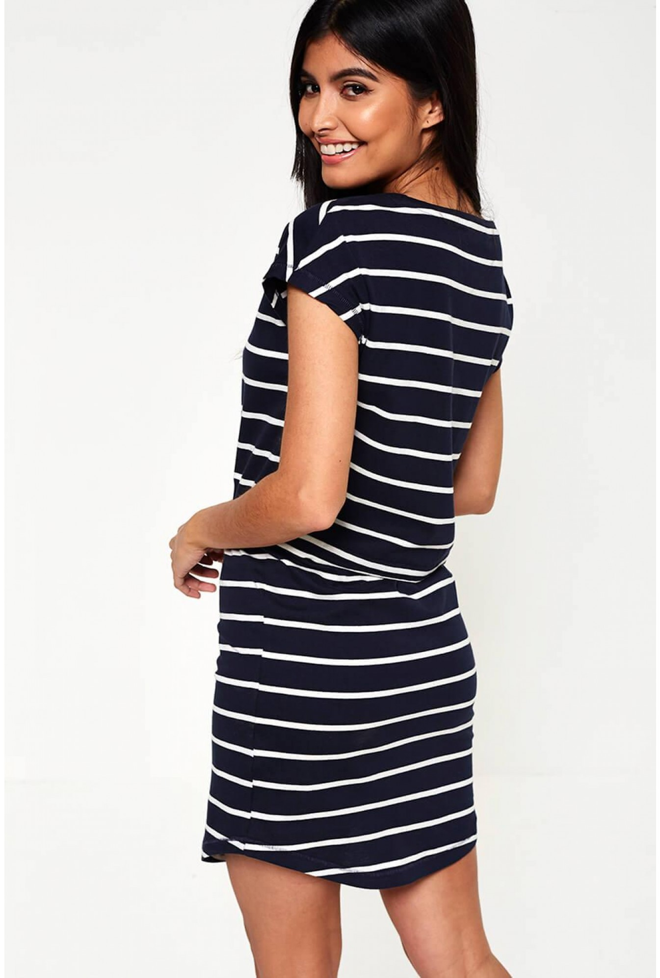 c9c28b9035a8 Only May Cotton Short Sleeve Stripe Dress in Navy | iCLOTHING