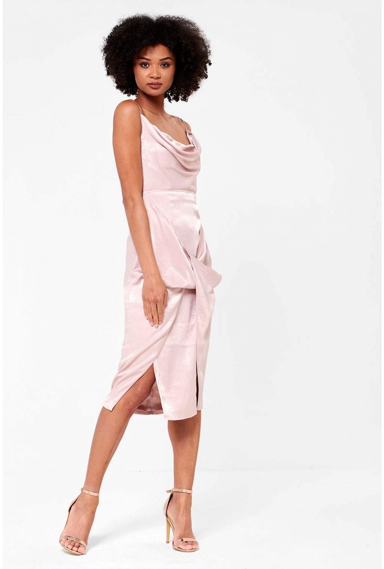 b5332111c94 True Decadence Alison Cowl Neck Drape Dress in Pale Pink