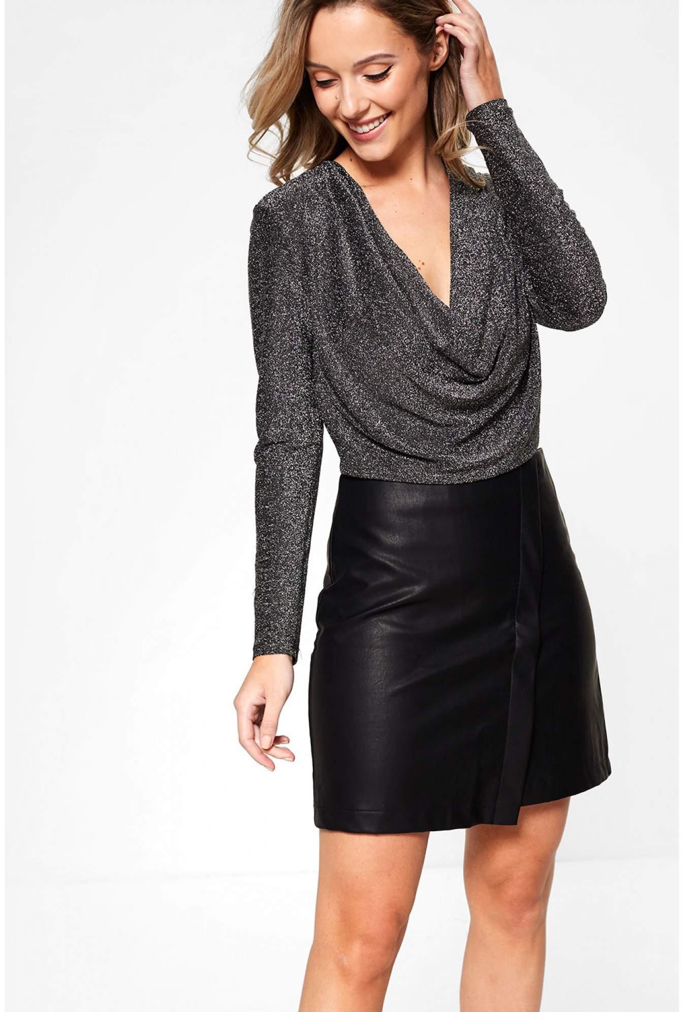 c10972cac0 Girl in Mind Orla Cowl Neck Long Sleeve Bodysuit in Black   iCLOTHING