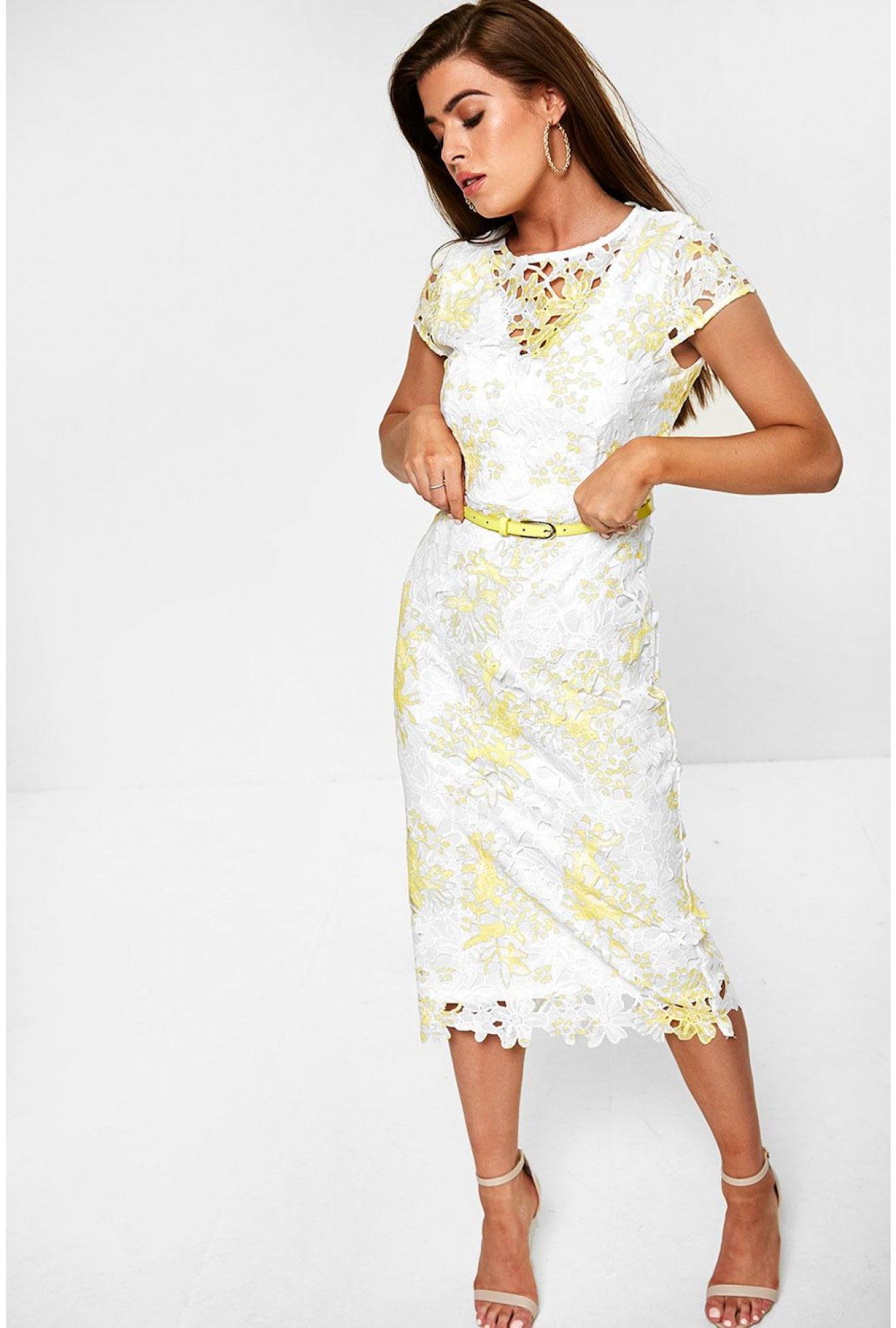 bd9099d96ba8 Marc Angelo Crochet Midi Dress in White and Yellow | iCLOTHING