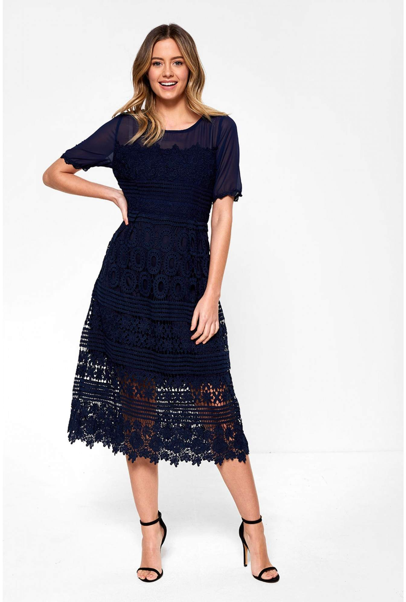 ce01db119977f Stella Aaliyah Crochet Occasion Dress in Navy | iCLOTHING