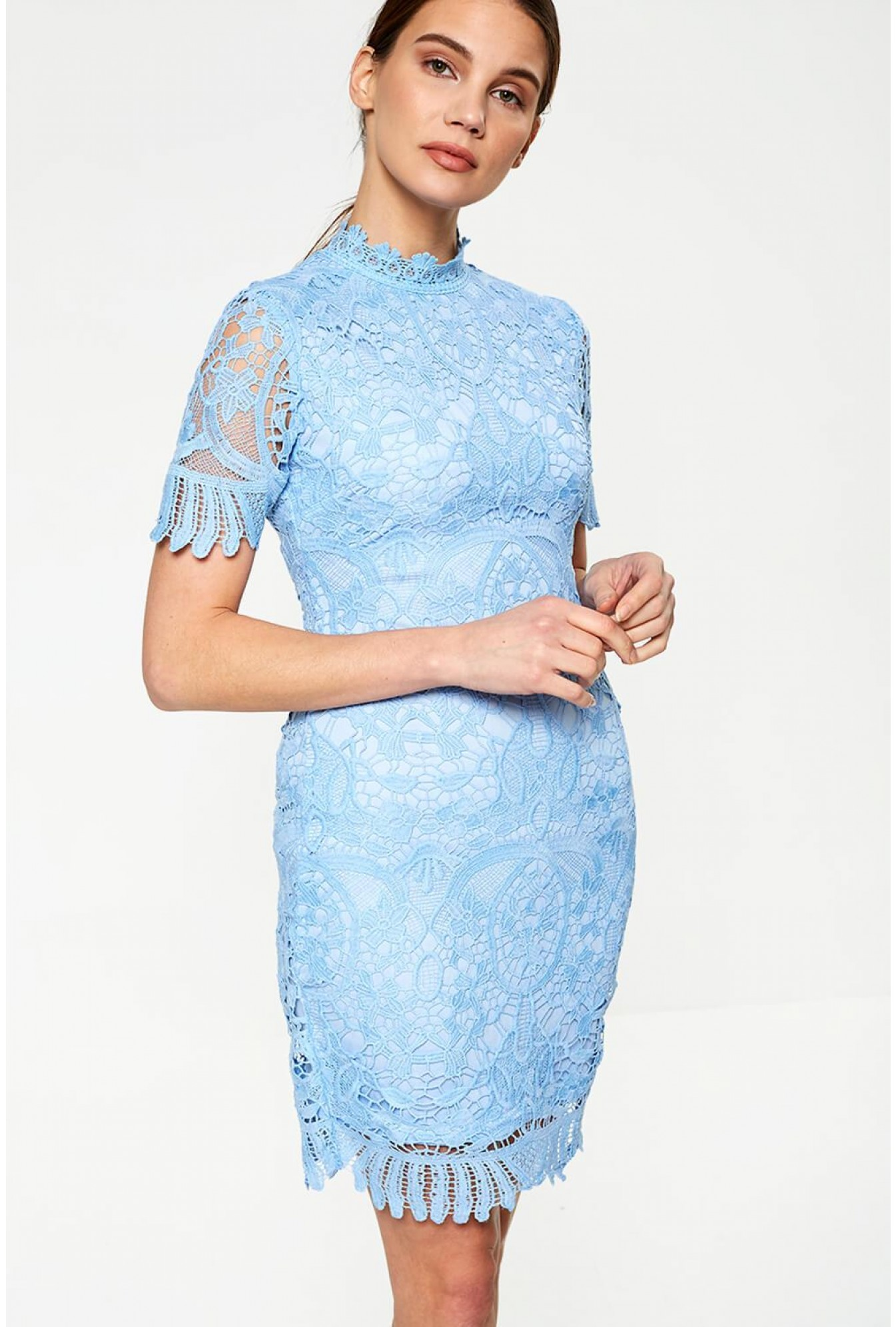 Pixie Daisy Diana Crochet Overlay Midi Dress In Baby Blue Iclothing