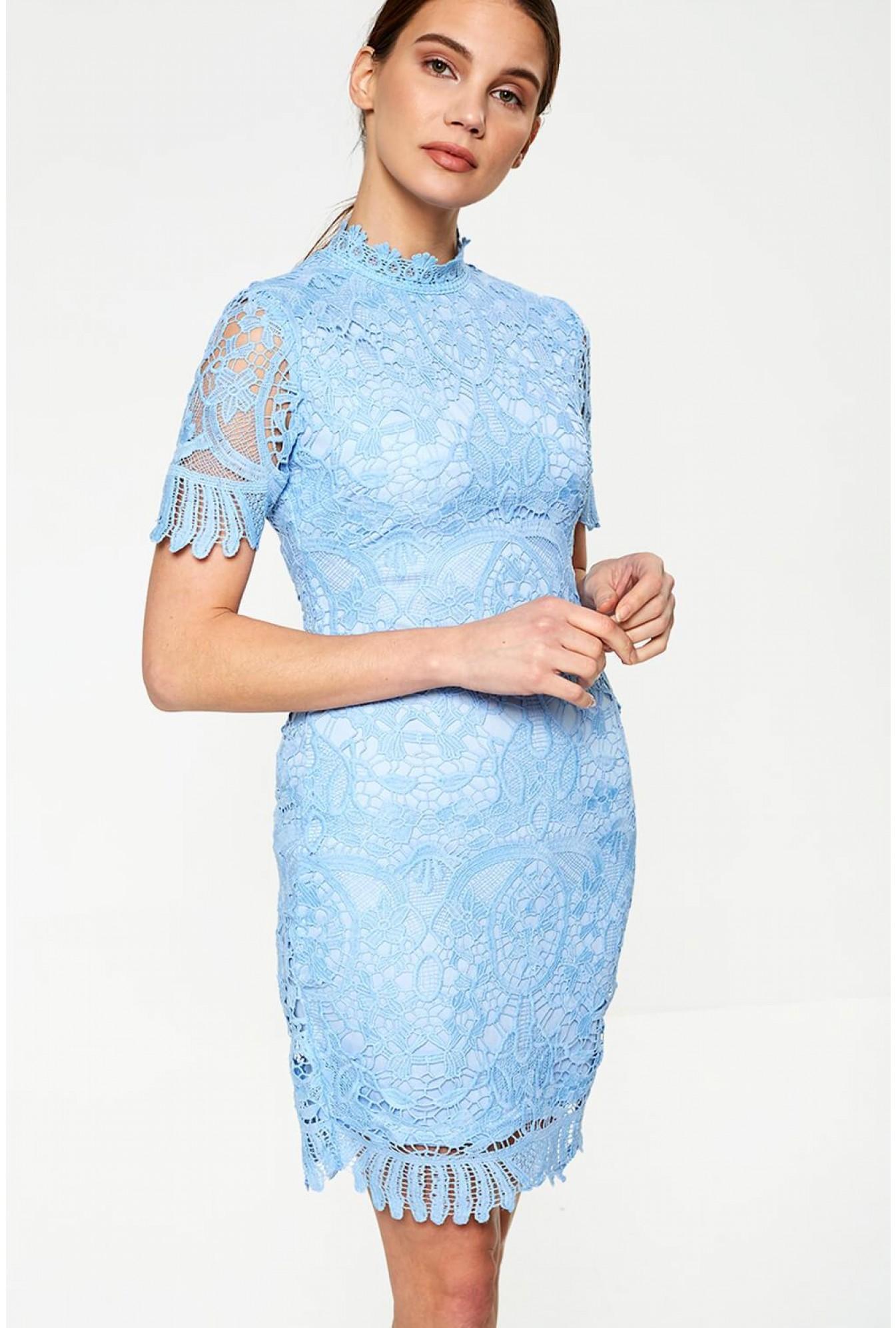 237dd43ccf51 Pixie Daisy Diana Crochet Overlay Midi Dress in Baby Blue