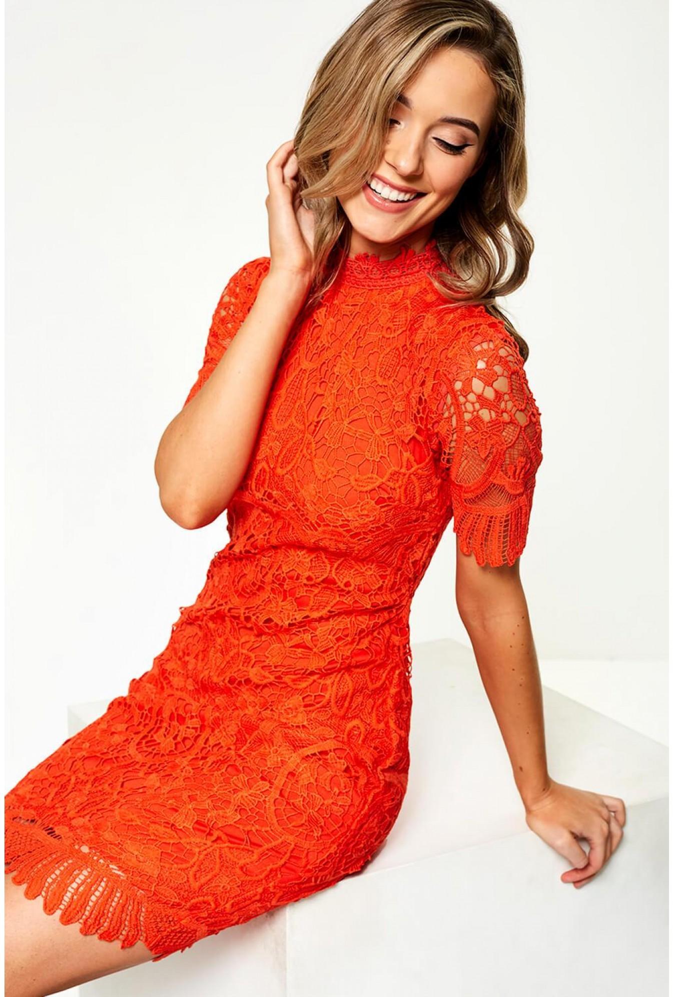 Pixie Daisy Diana Crochet Overlay Midi Dress In Orange Iclothing