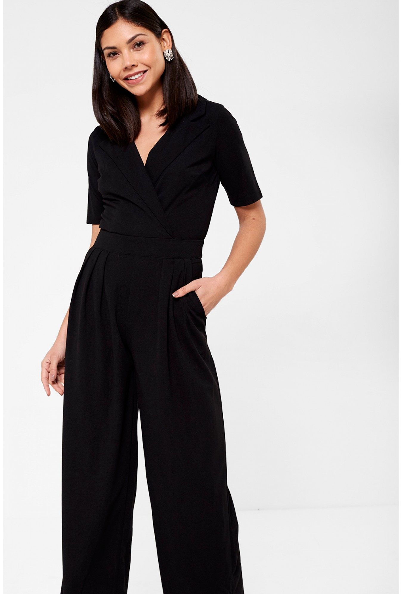 54114fdeb23 Marc Angelo Maura Crossover Jumpsuit in Black