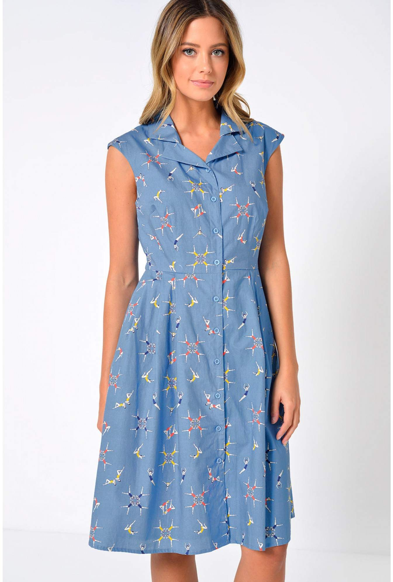 a8a76501db078 Sugarhill Adora Swimmers Shirt Dress in Blue