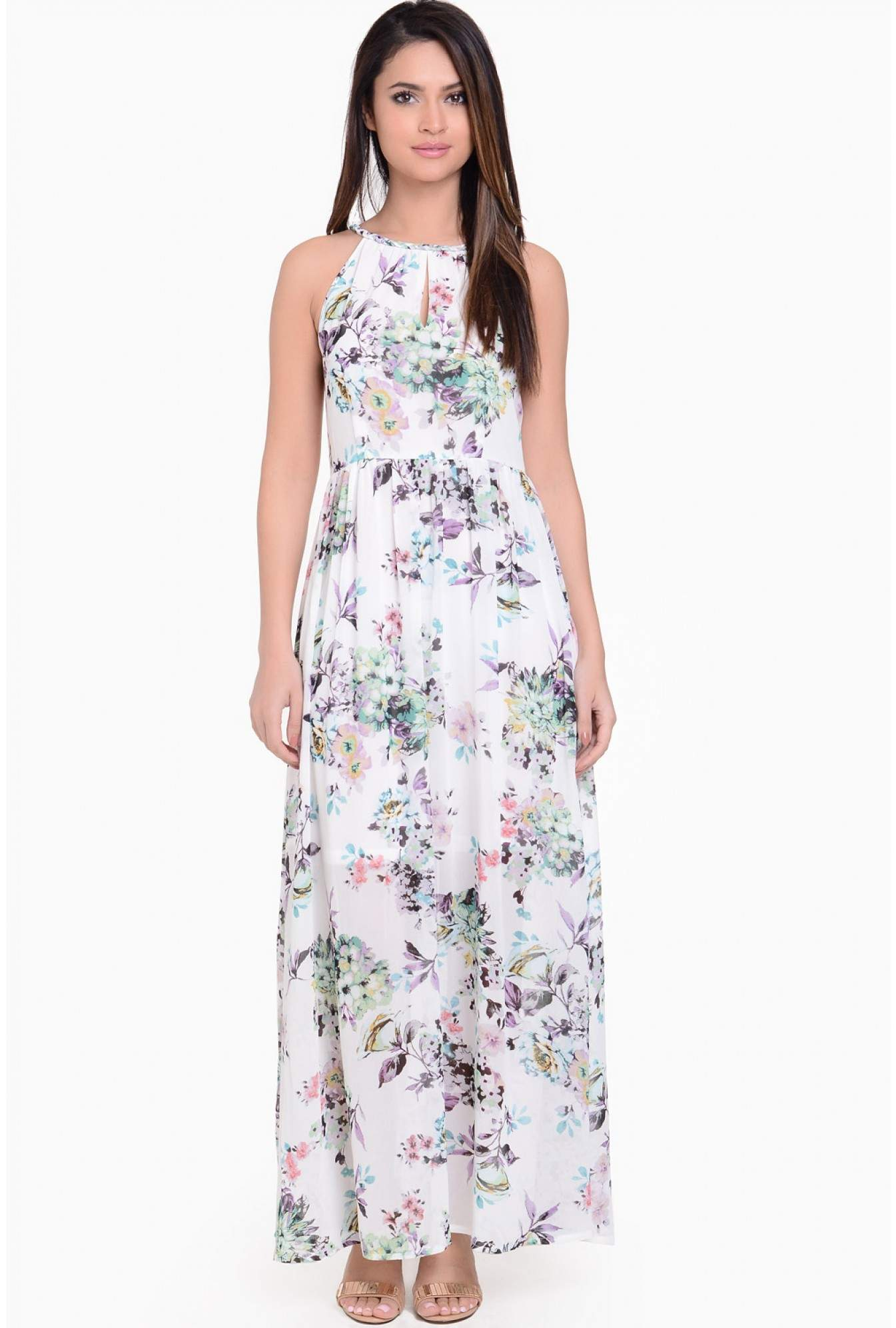b919593364ab Stella Tina Printed Maxi Dress in Cream | iCLOTHING