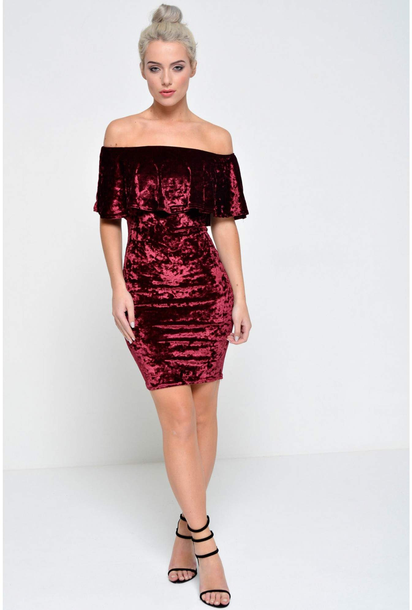 1f4f5dd85730 More Views. Tracy Off Shoulder Velvet Dress in Wine