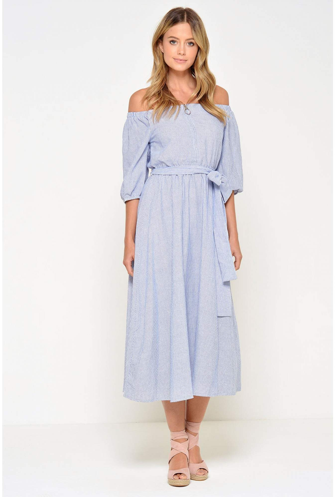 1ce1d96f88ab More Views. Niamh Stripe Off Shoulder Midi Dress
