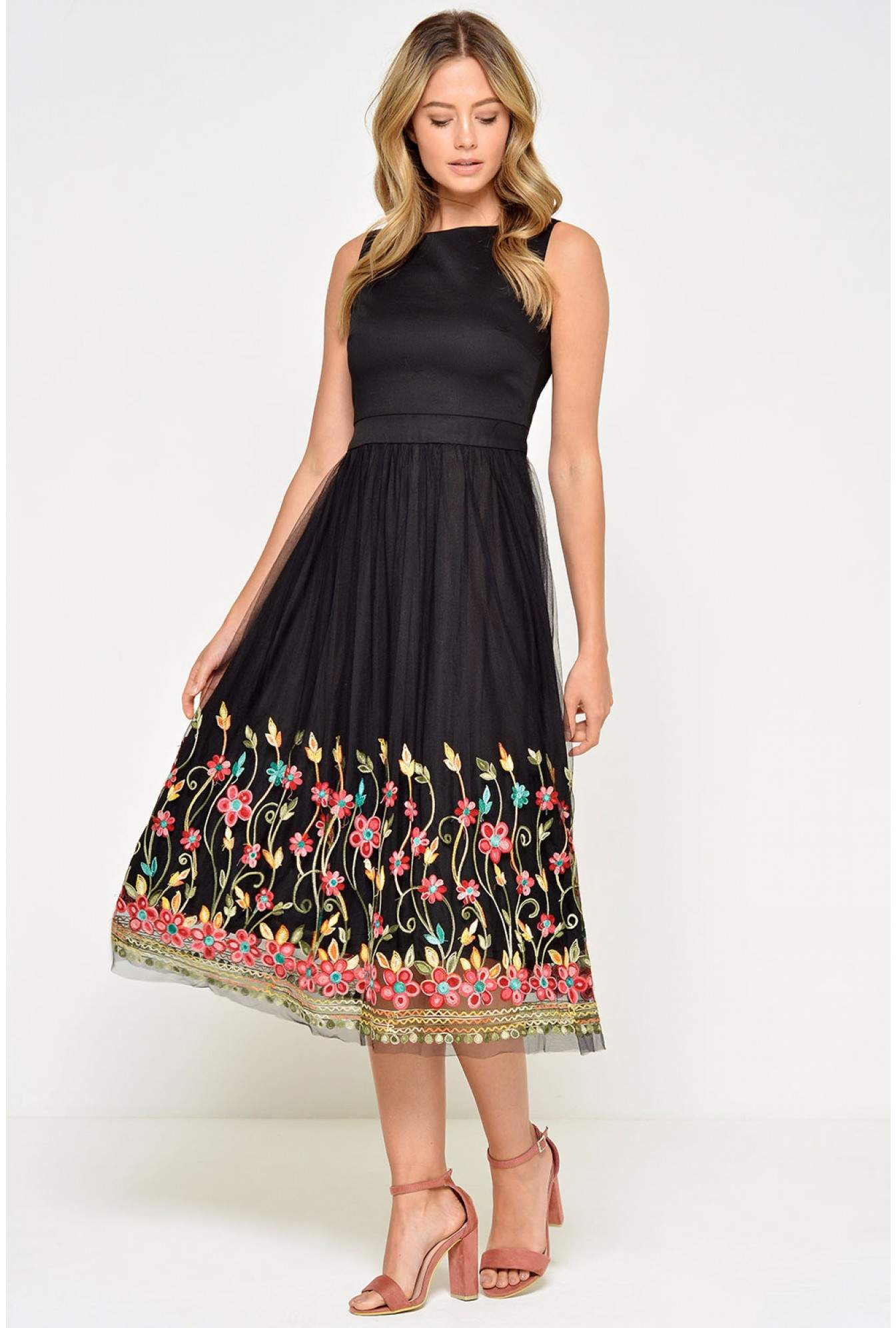 025e430ae088 Stella Isabelle Floral Embroidered Dress in Black | iCLOTHING
