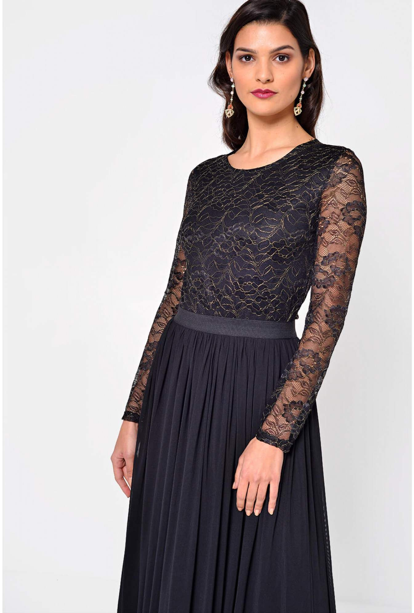 381c8e1a6fe More Views. Pia Lace Top Maxi Dress in Black