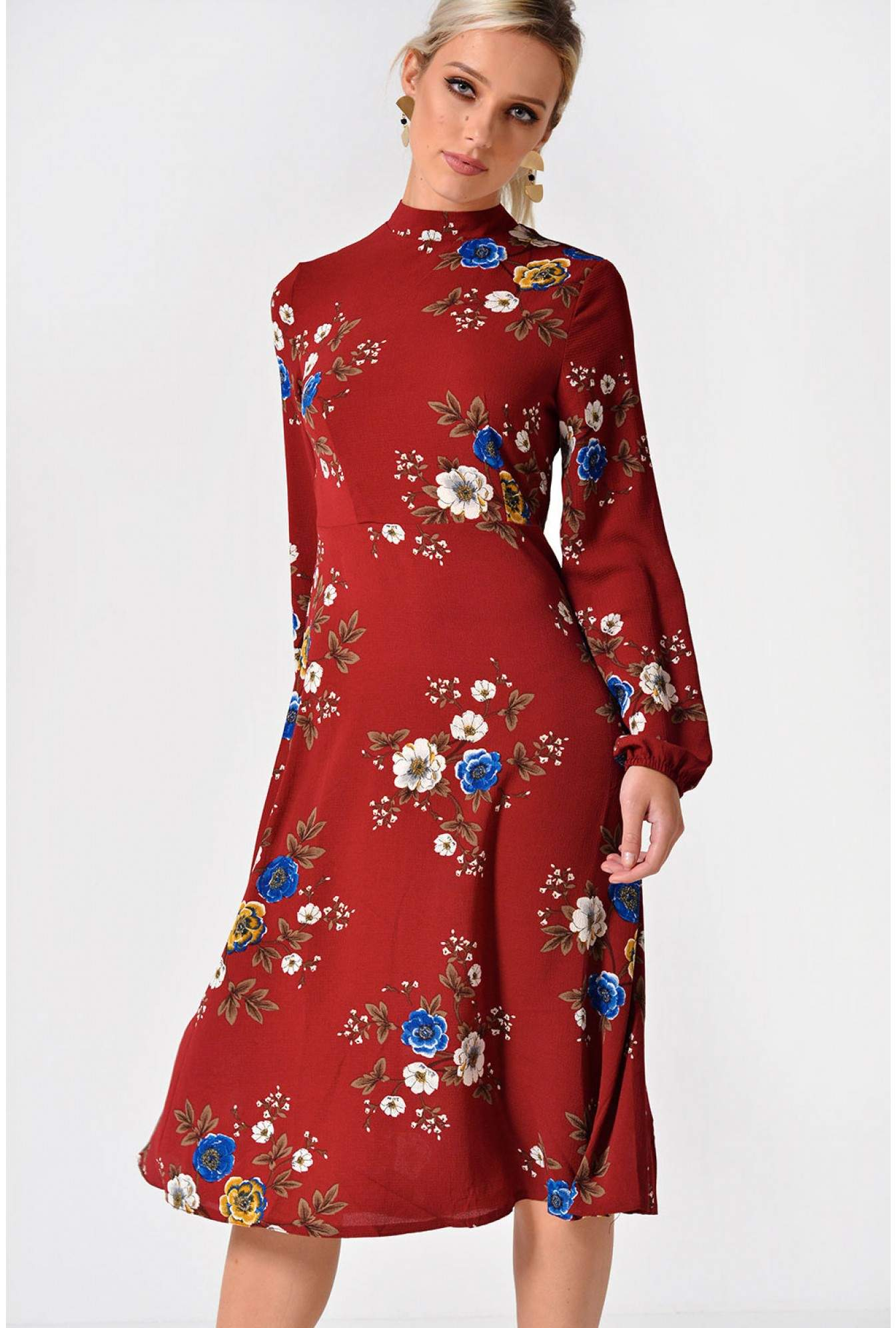 1c37cfe9617 Stella Lydia Long Sleeve Floral Midi Dress in Red | iCLOTHING