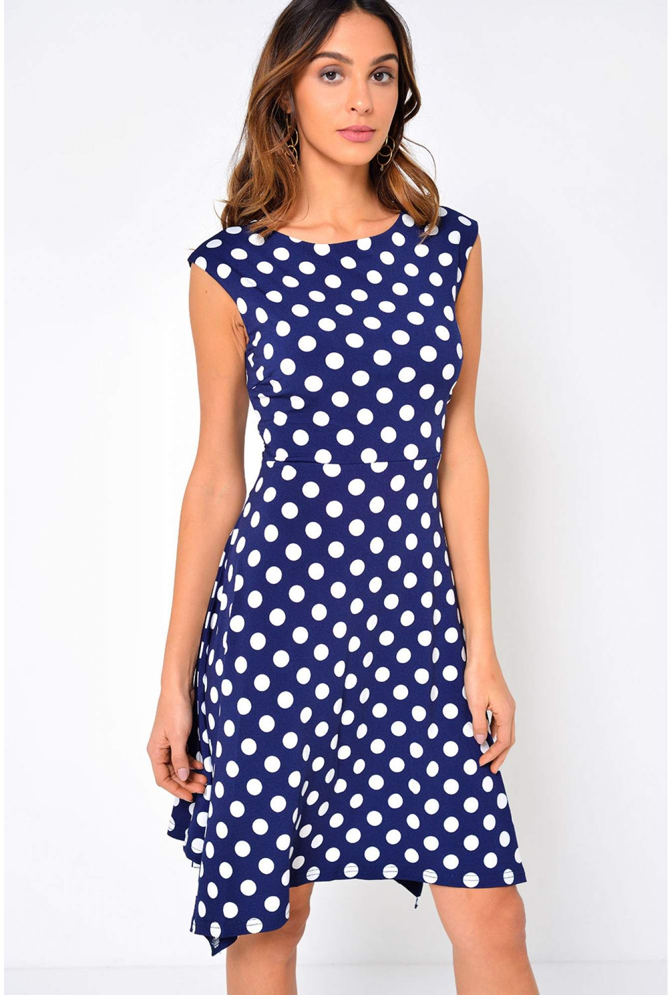1208259ce9d25 Stella Candy Polka Dot Jersey Dress in Navy | iCLOTHING