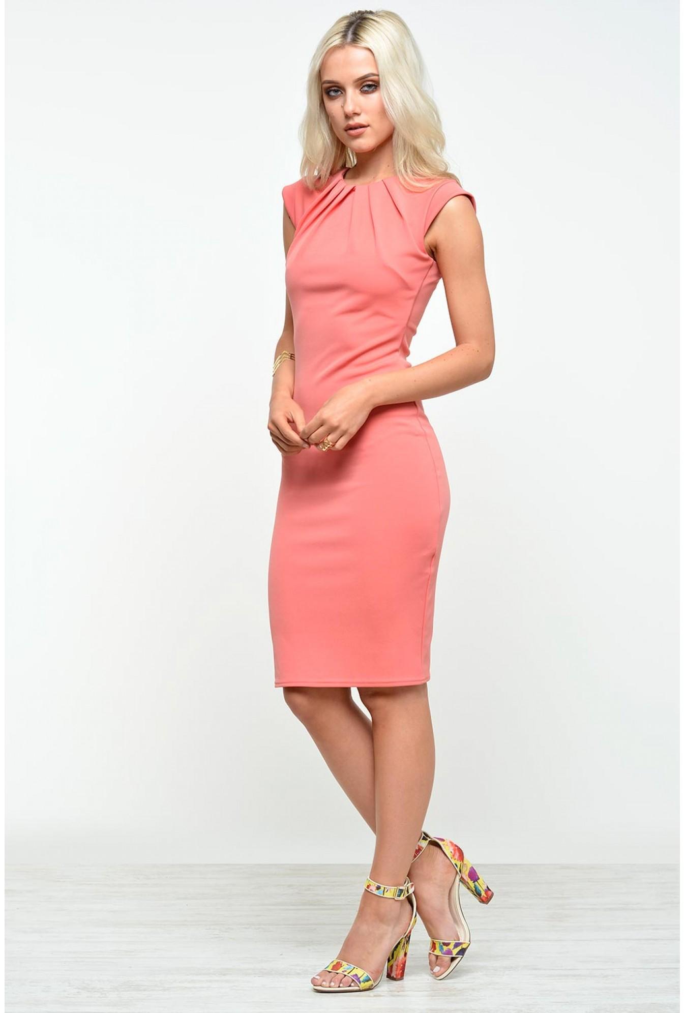 Goddiva Jadyn Pleat Cap Sleeve Midi Dress in Coral  cd496a57e
