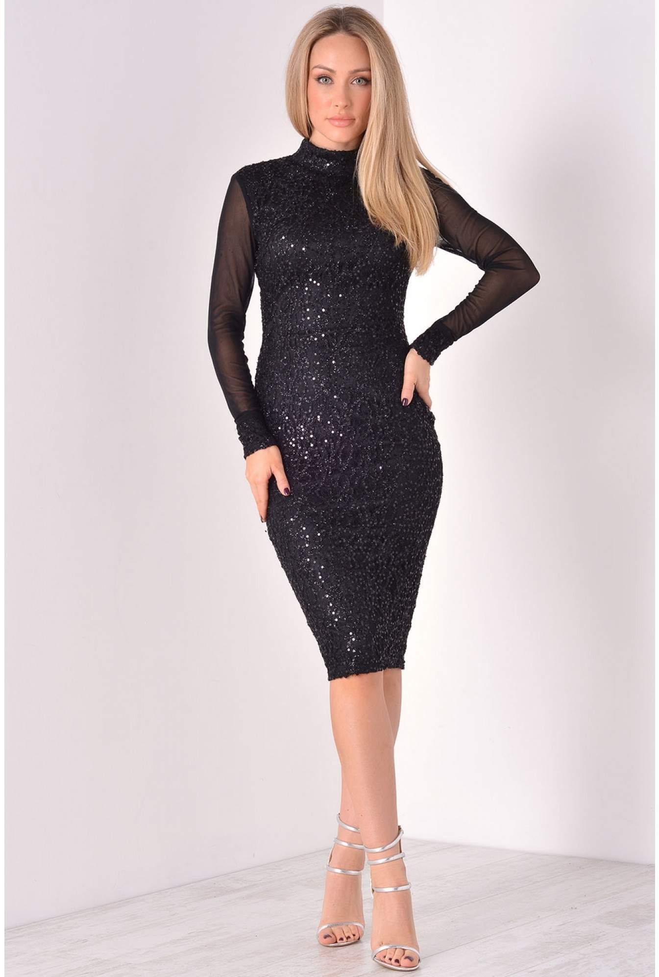 9720a560b04 More Views. Noreen Mesh Sleeve Sequin Midi Dress in Black