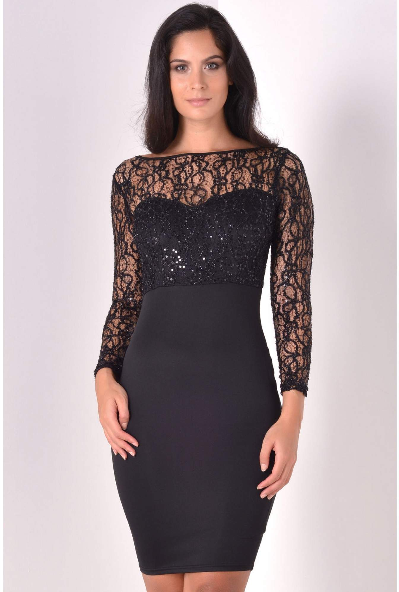 198a3699986 More Views. Kali Sequin Top Bodycon Midi Dress in Black