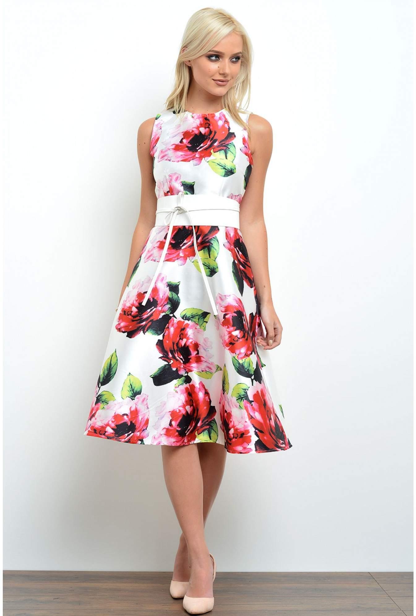 6589a3976eae54 More Views. Tracy Floral Print Midi Skater Dress in Cream. AX Paris