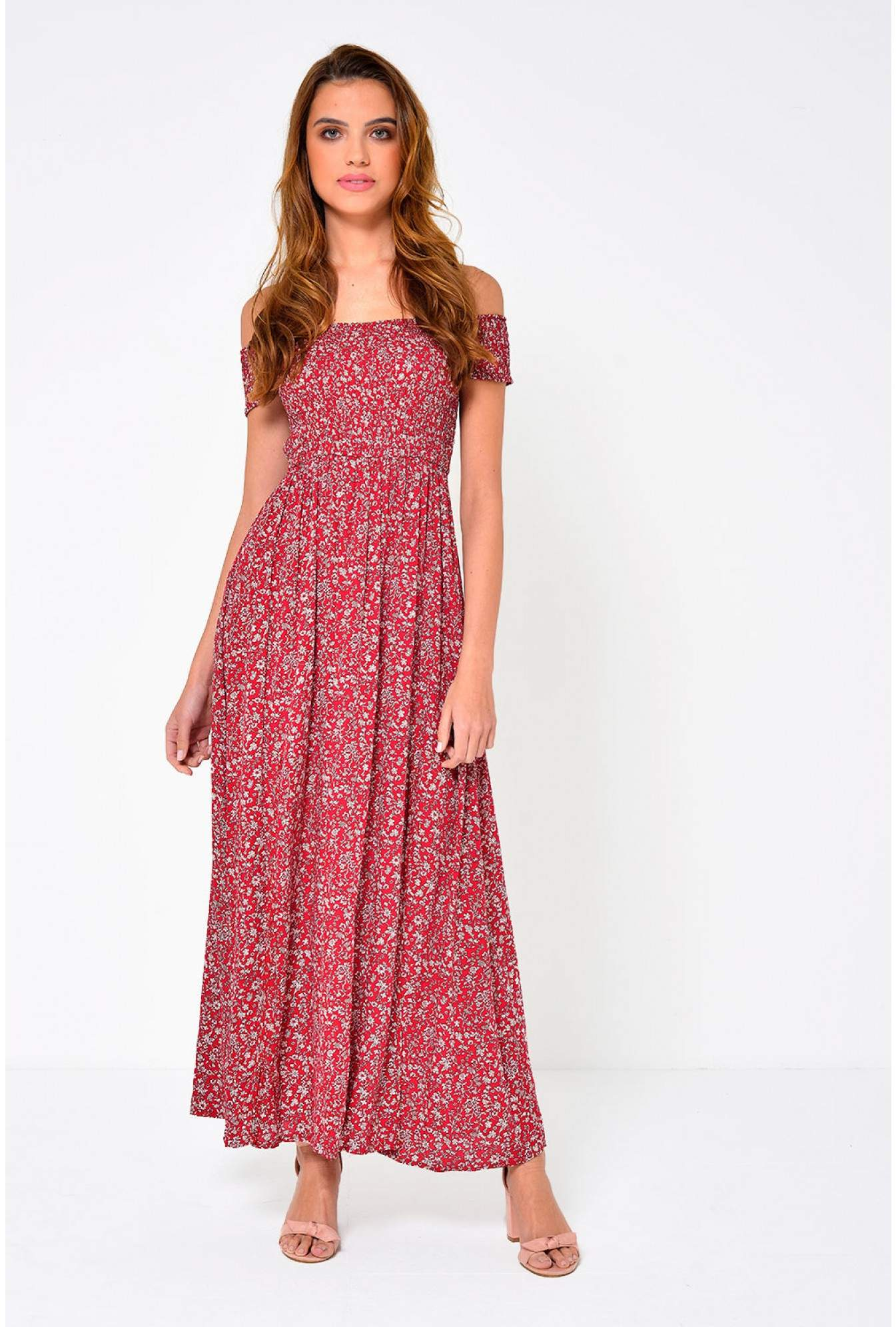 7ead86edf2a2 More Views. Kerry Off Shoulder Floral Maxi Dress in Red