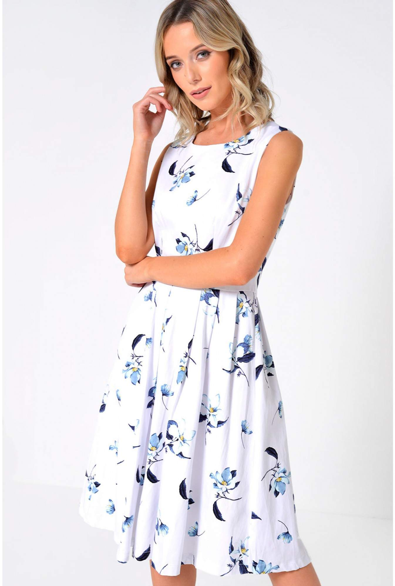 016b013a99 More Views. Simone Floral Pleated Dress in White