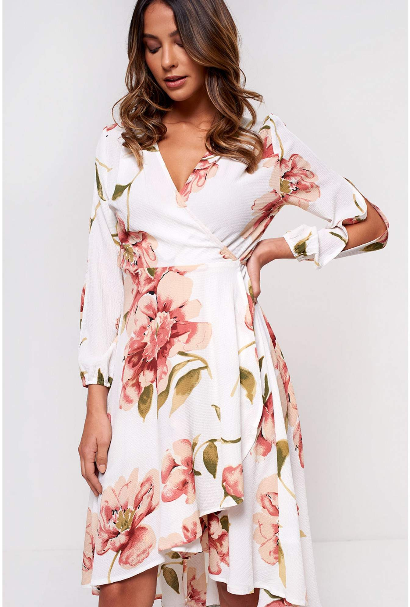6cfd982296aa More Views. Carter Wrap Front Midi Dress in Off White Floral